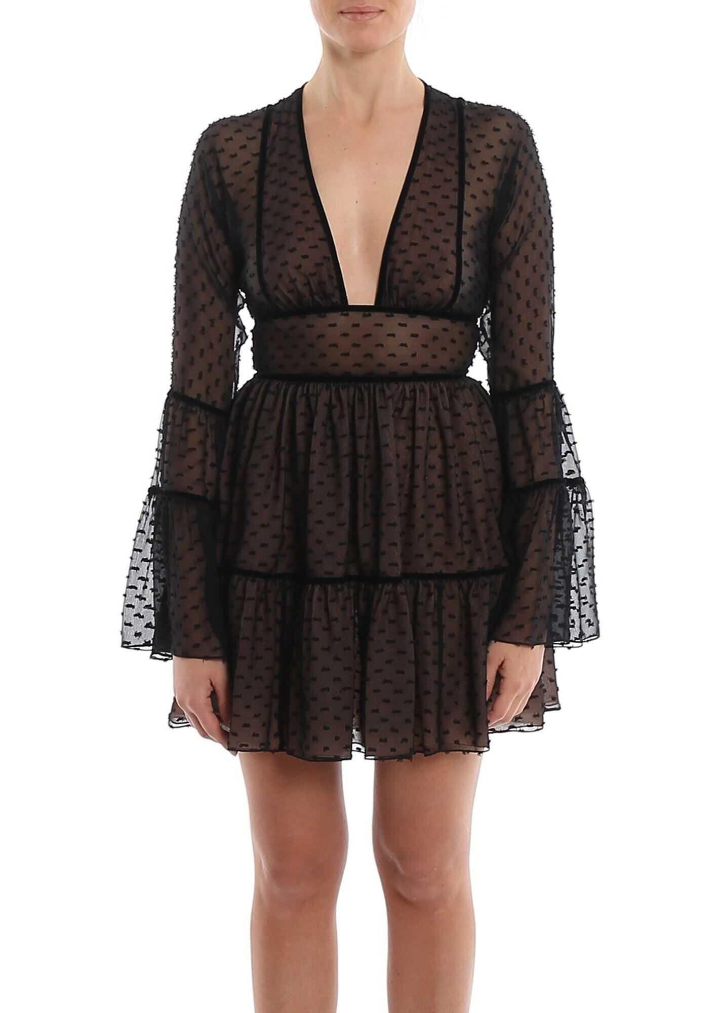 DSQUARED2 Sheer Silk Chiffon Short Dress Black