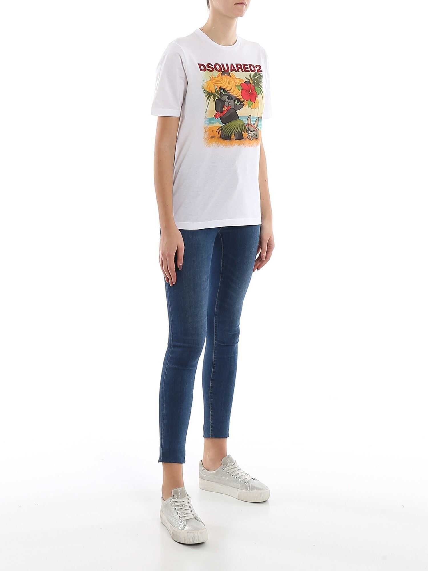 DSQUARED2 Logo Printed Cotton Jersey T-Shirt White