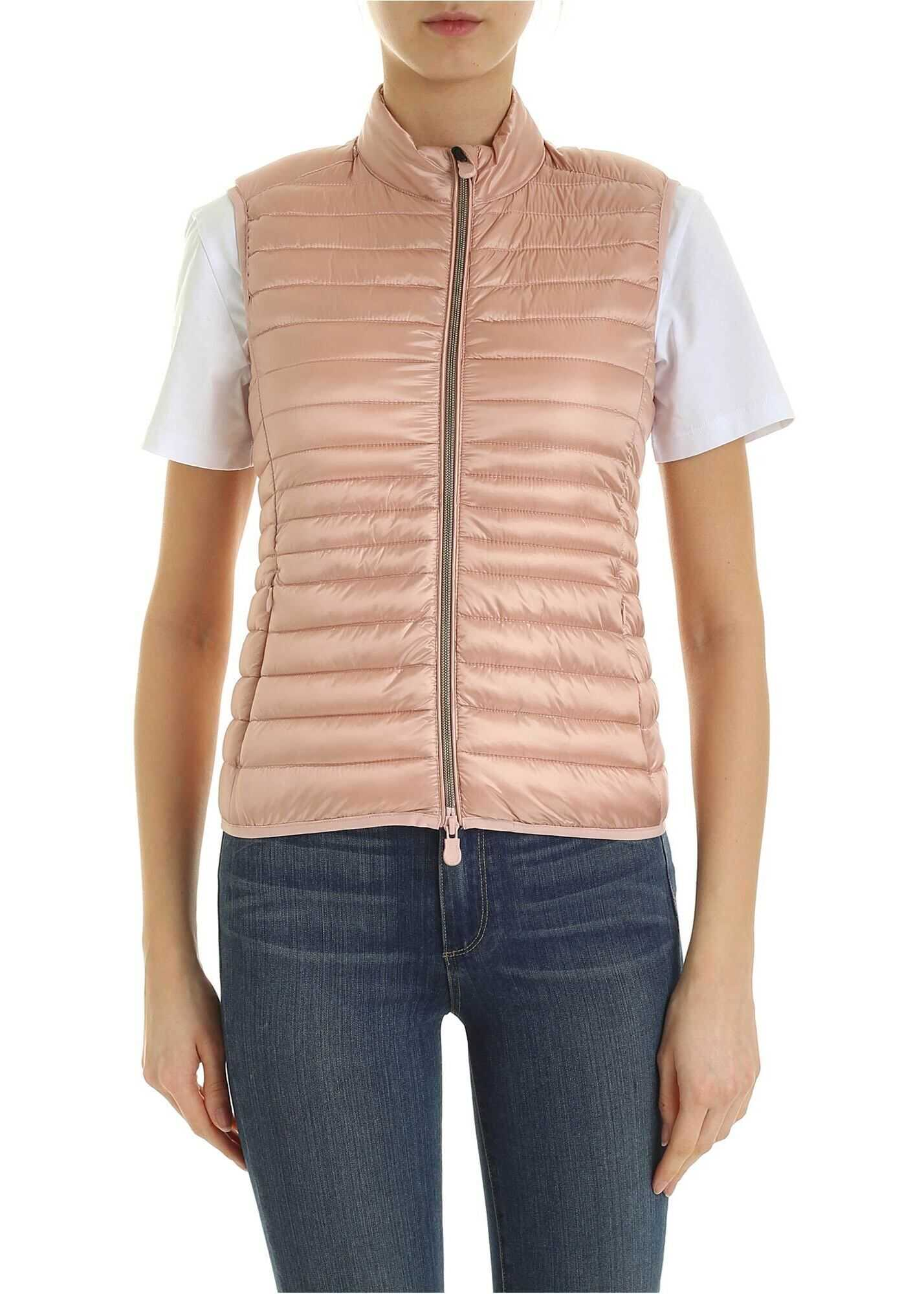 Save the Duck Quilted Padded Waistcoat In Pink Pink