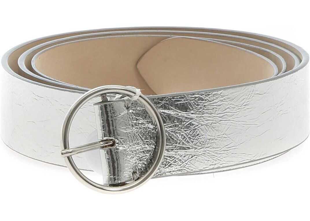 Maison Margiela Silver Laminated Leather Belt Silver