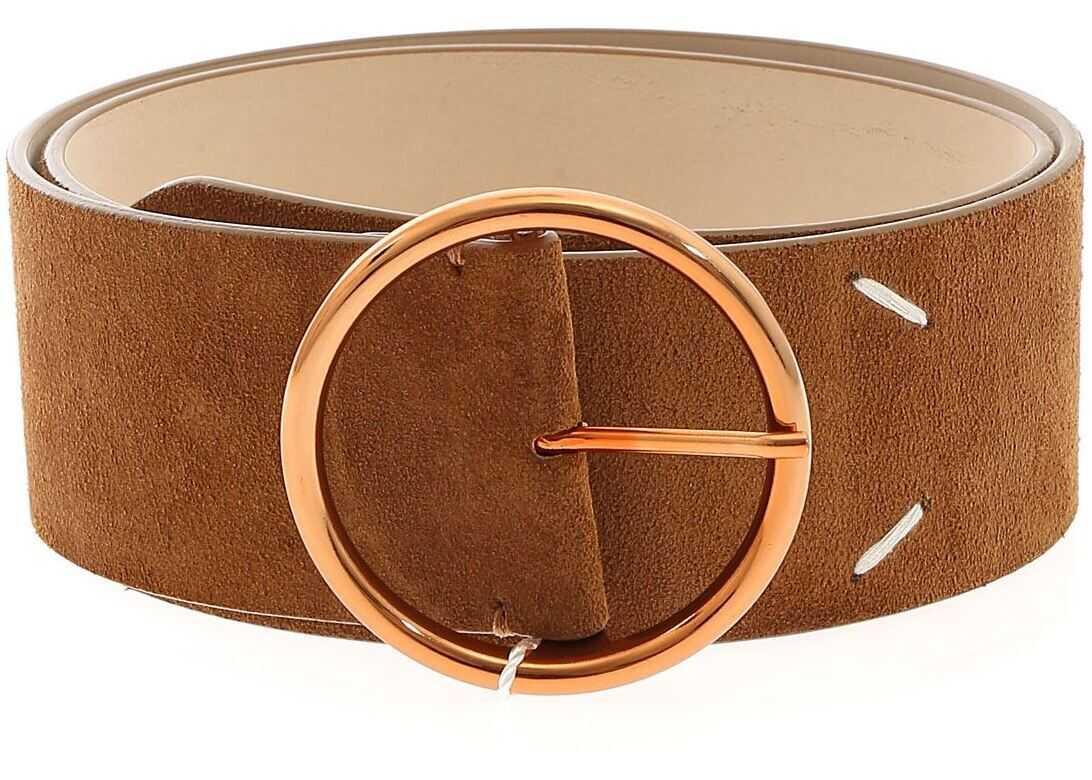 Maison Margiela Logo Detail Belt In Leather Color Brown