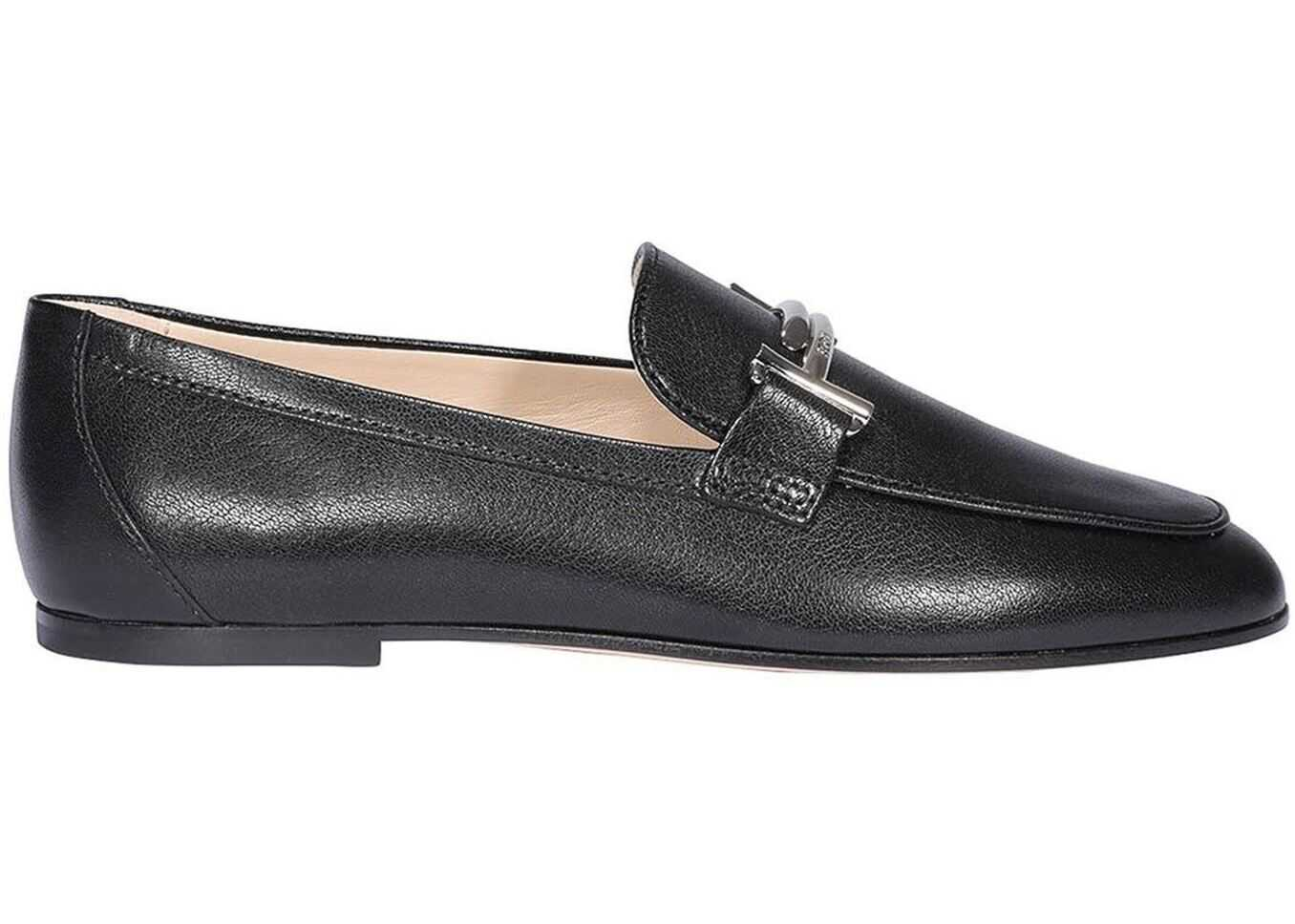 TOD'S Black Calfskin Double T Loafers Black