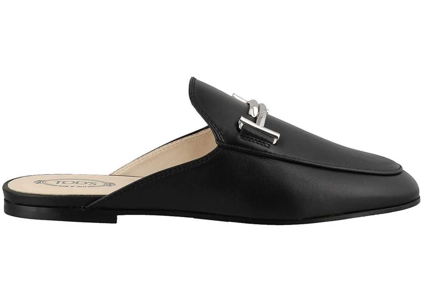 Black Smooth Leather Double T Mules thumbnail