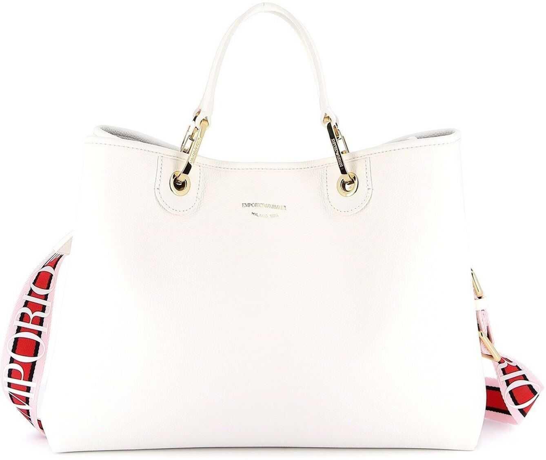 Giorgio Armani Grained Faux Leather Tote White