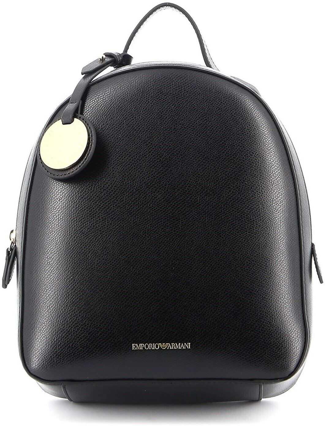 Giorgio Armani Faux Leather Small Backpack Black