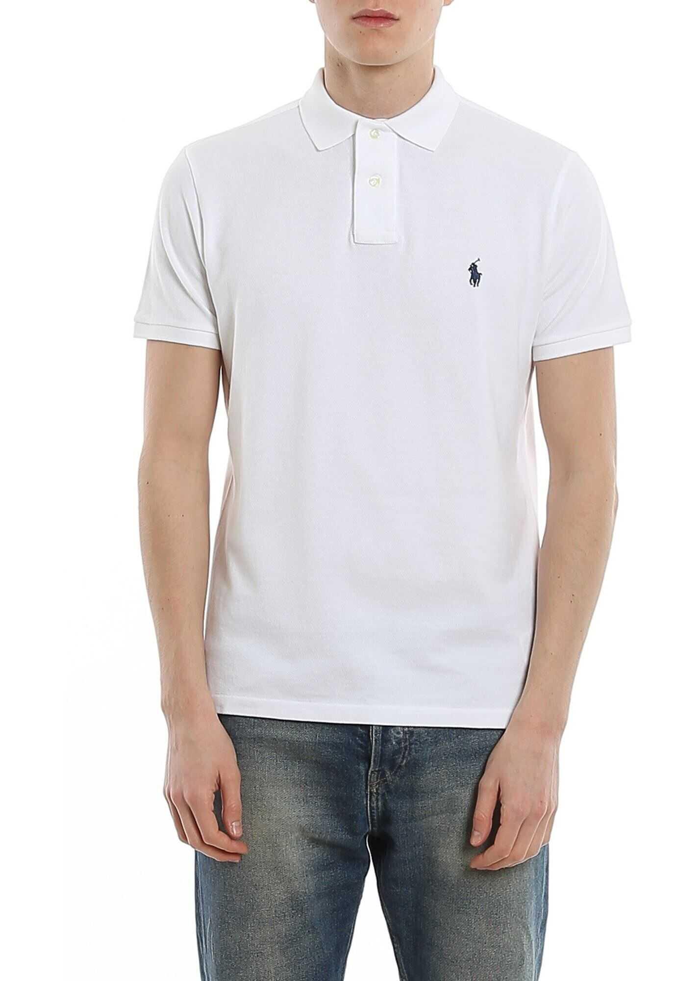 Ralph Lauren White Slim Polo Shirt White imagine