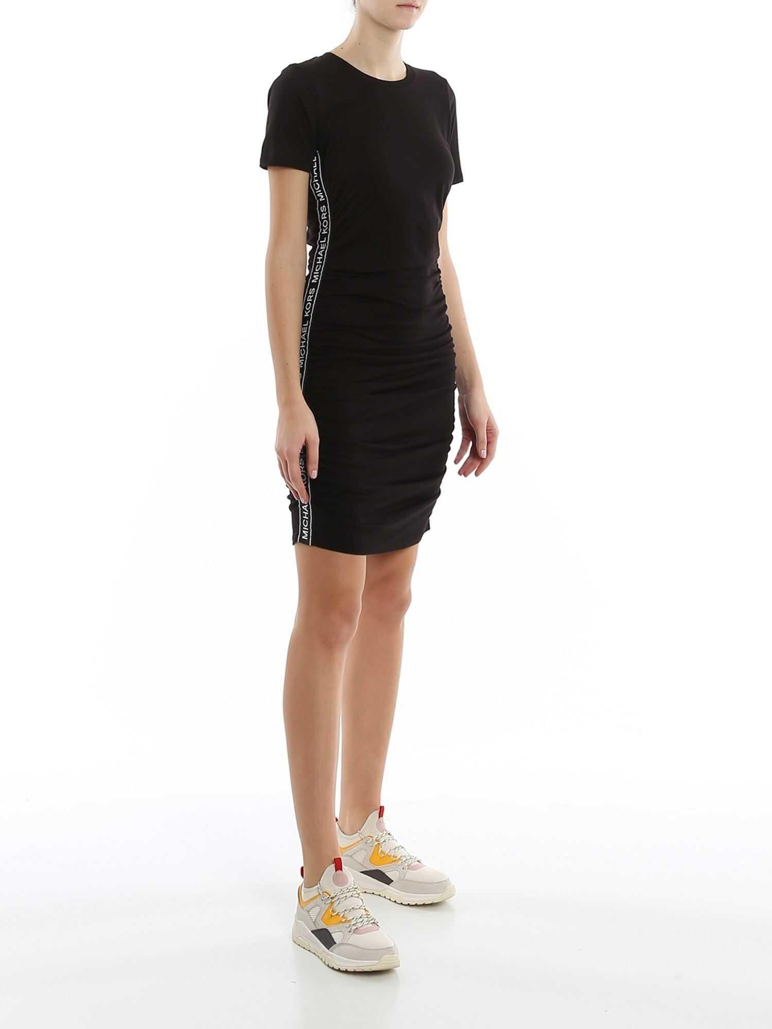 Michael Kors Logo Stripe Short Dress Black