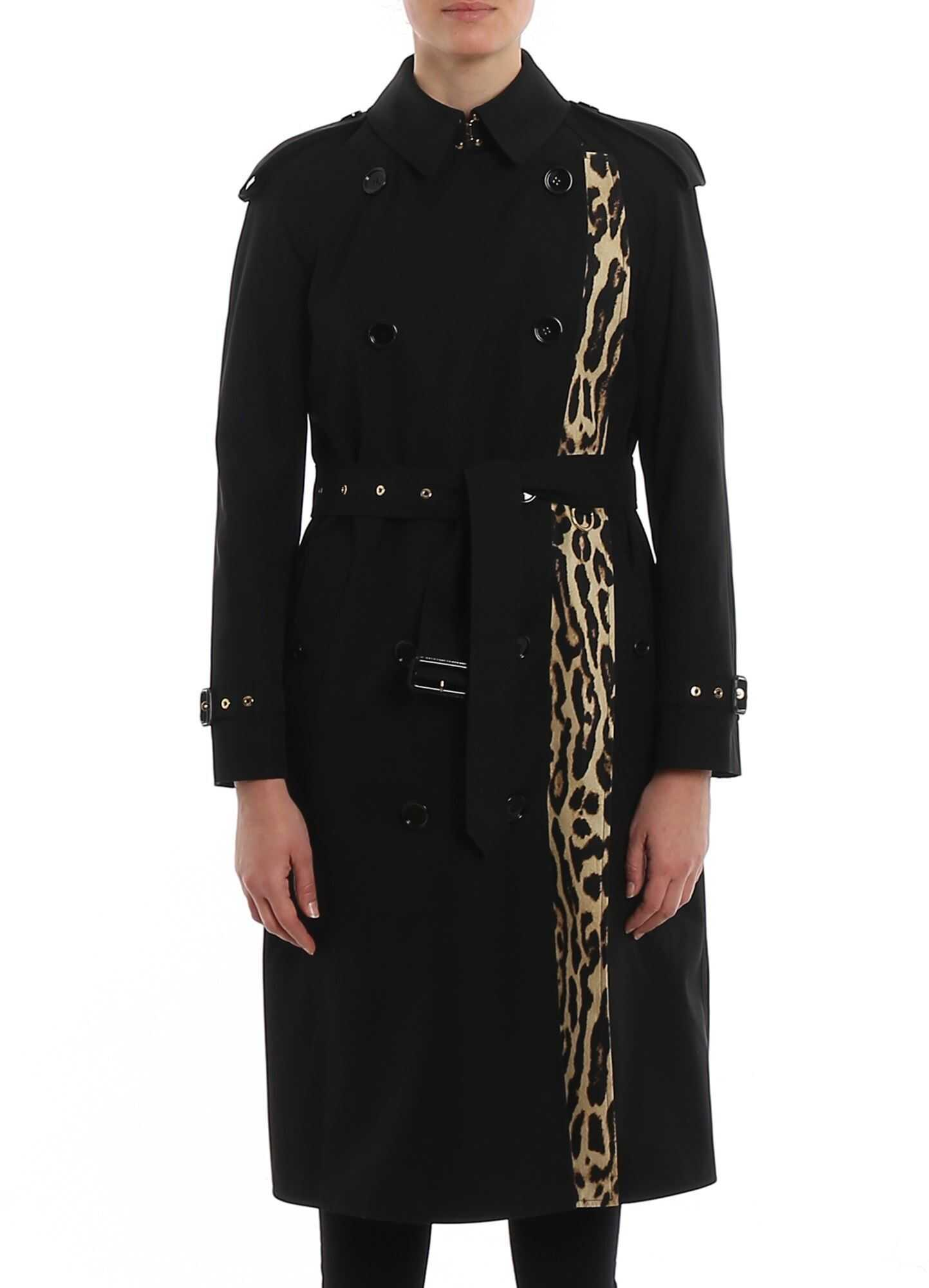 Burberry Bridstow Trench With Leo Print Lining Black