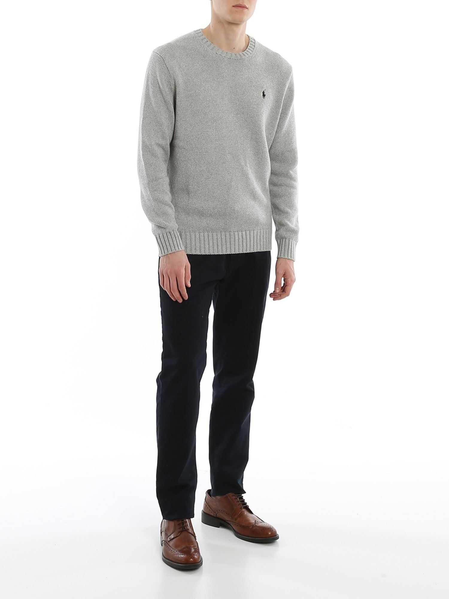 Ralph Lauren Cable Knit Cotton Crew Neck Grey