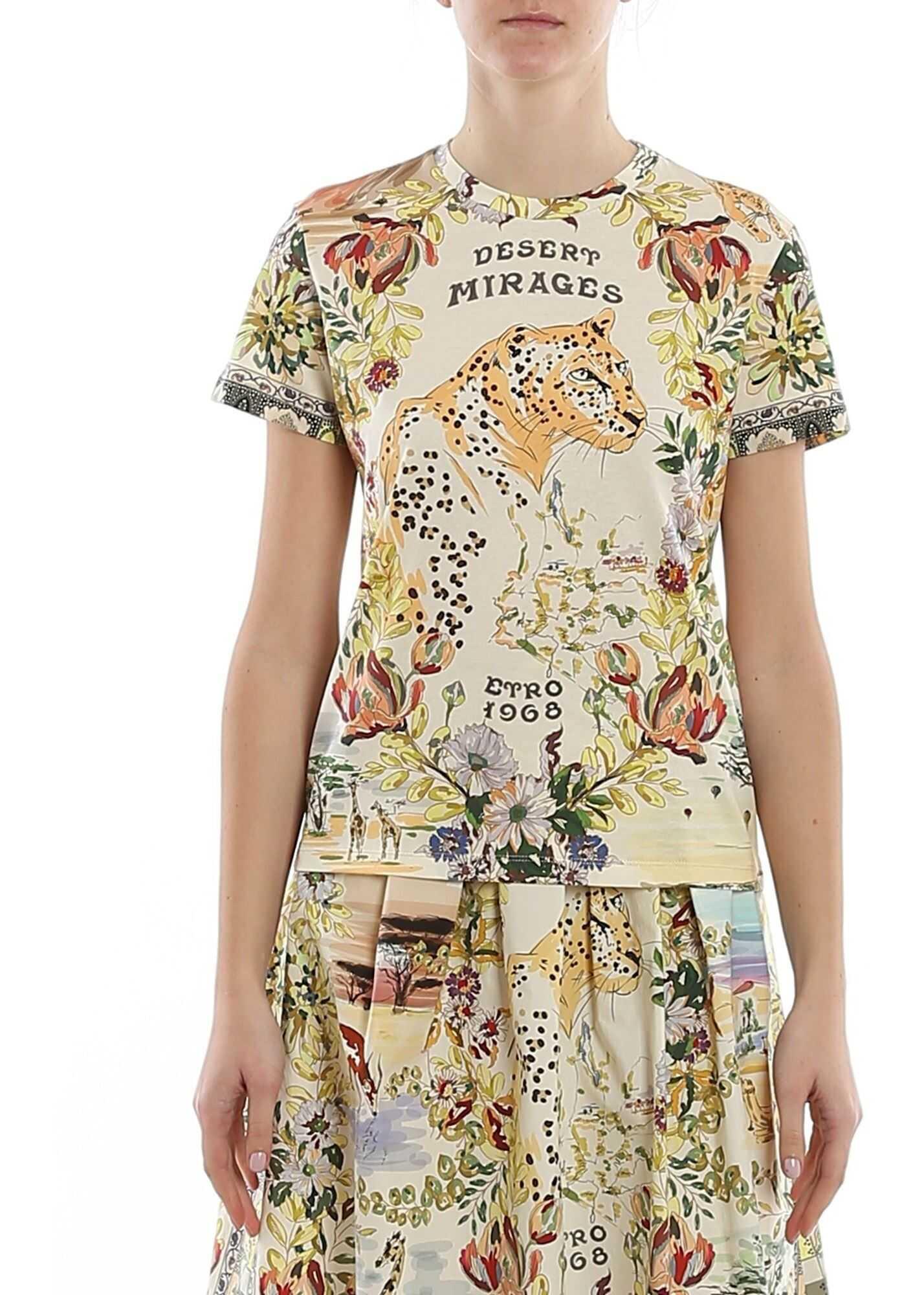 ETRO Desert Mirages Printed Jersey T-Shirt Multi