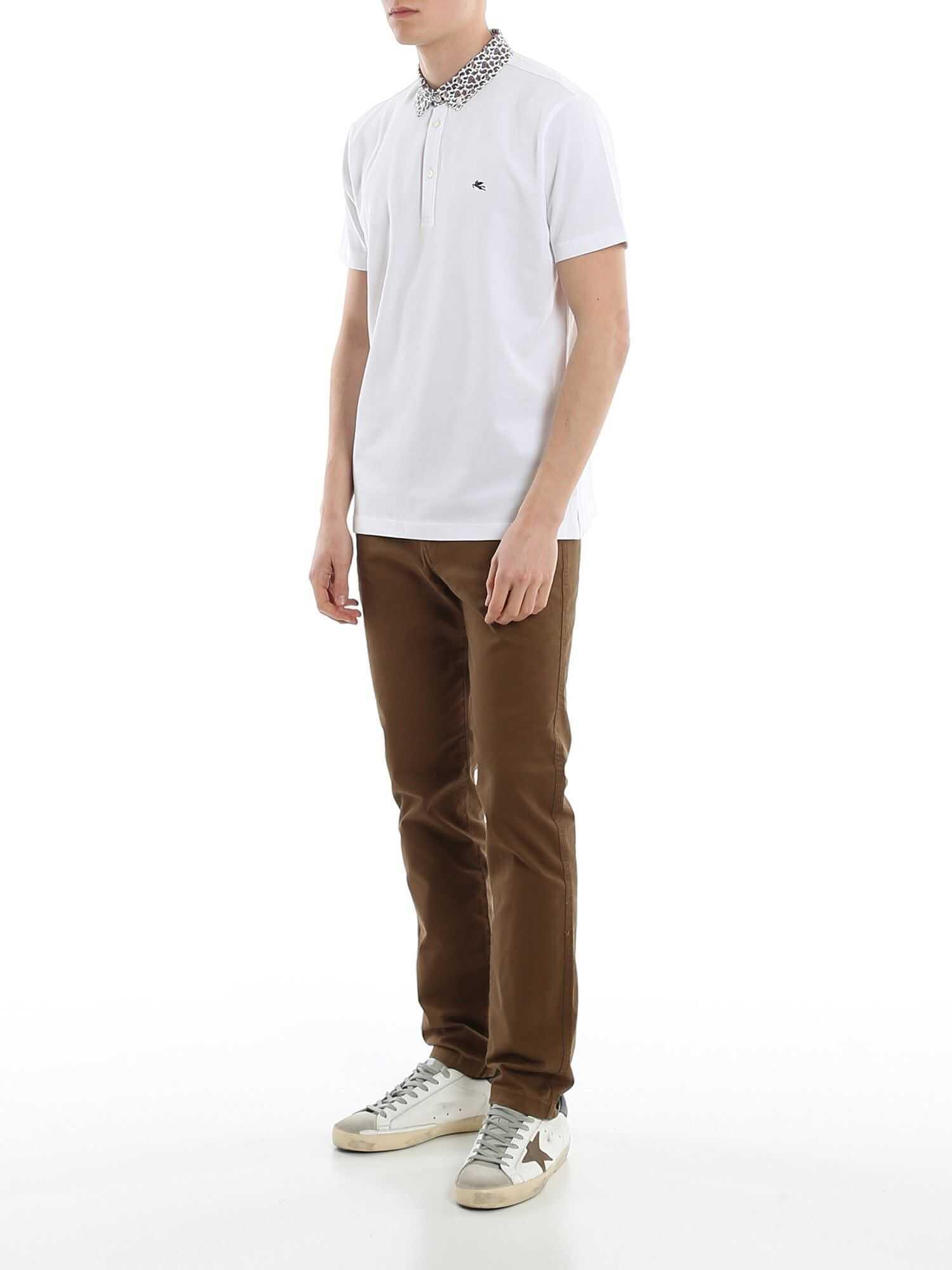 ETRO Paisley Button-Down Collar Piqué Polo White