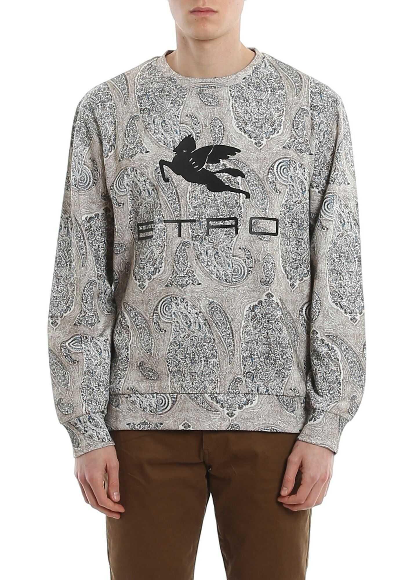 ETRO Paisley Patterned Techno Cotton Sweatshirt Beige imagine