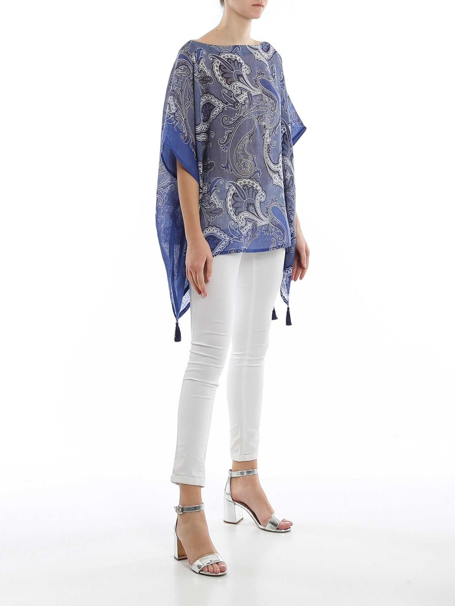 ETRO Tasselled Patterned Linen Caftan Blue