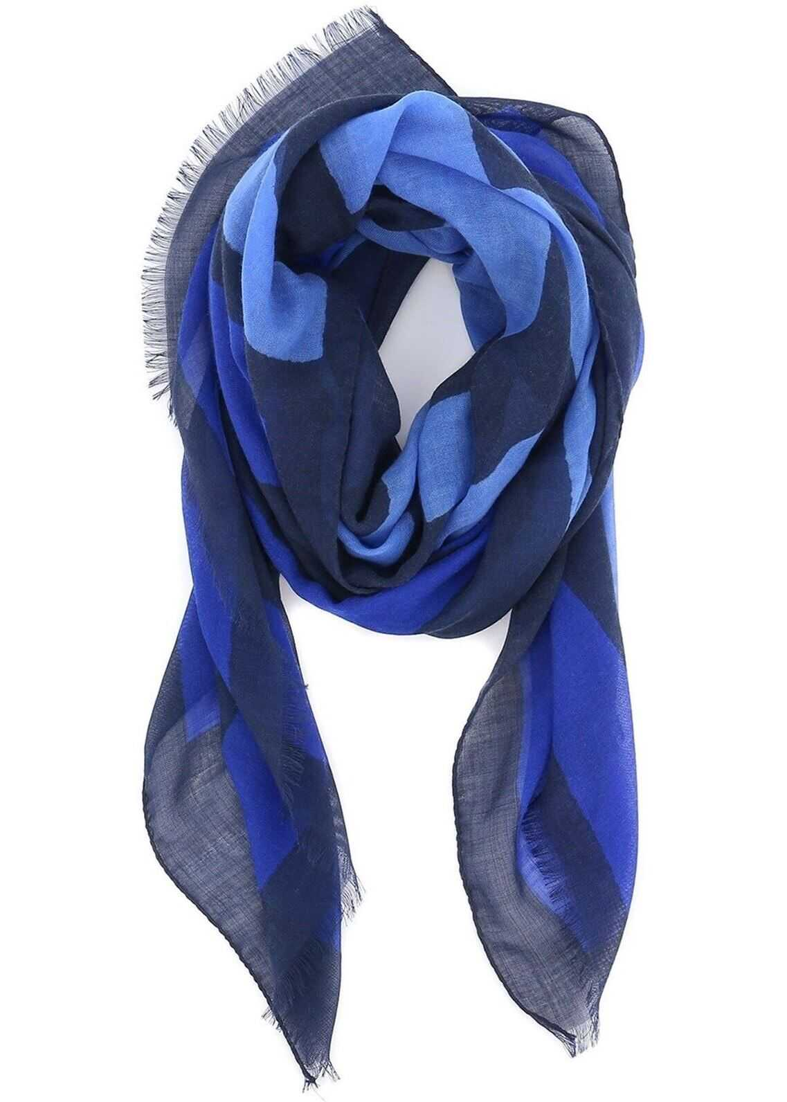 ETRO Maxi Logo Jacquard Cashmere Scarf Blue