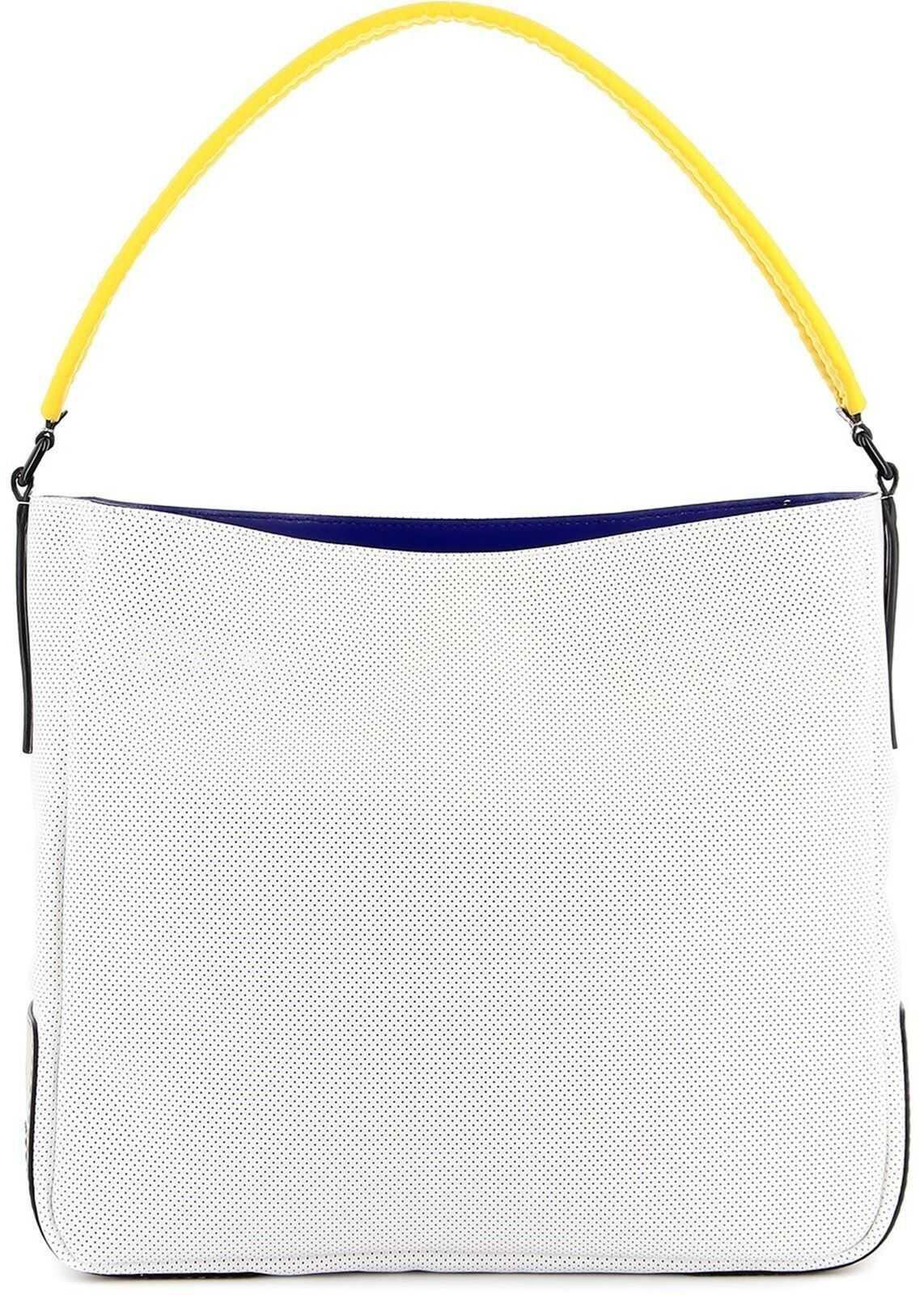 Hogan Perforated Leather Hobo Bag White