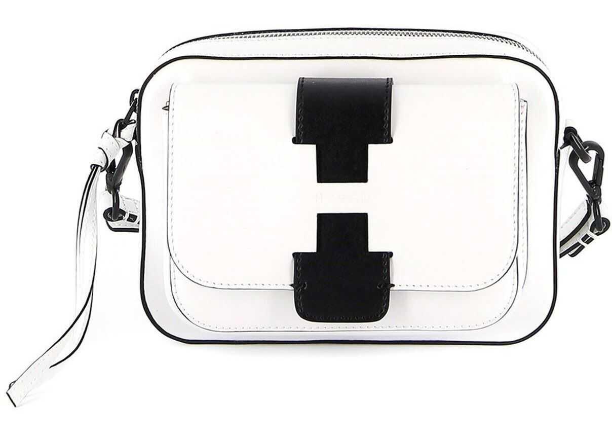 Hogan Cut-Out H Leather Cross Body Bag White