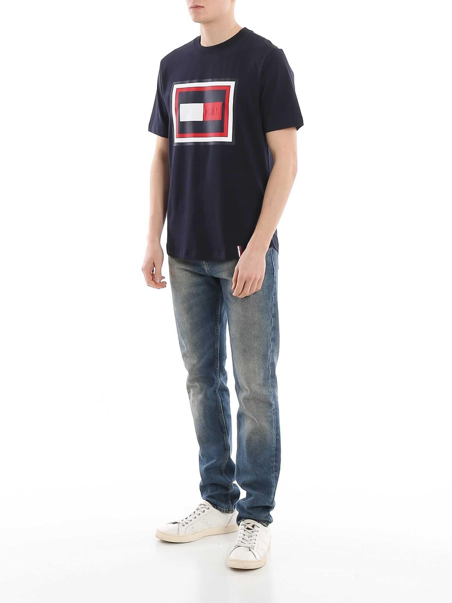 Tommy Hilfiger Printed Logo Cotton T-Shirt Blue
