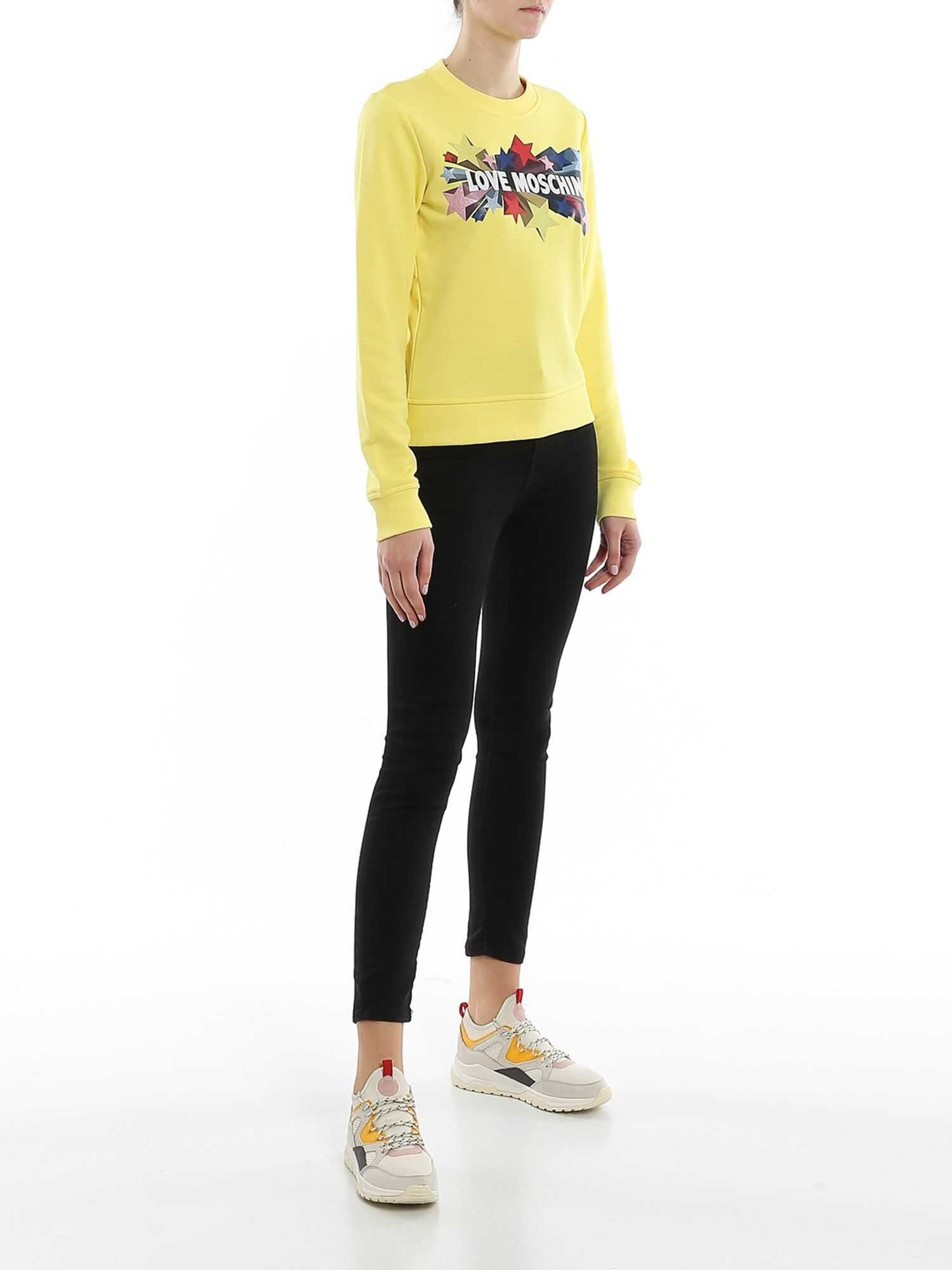 LOVE Moschino Logo Embellished Crew Neck Sweatshirt Yellow