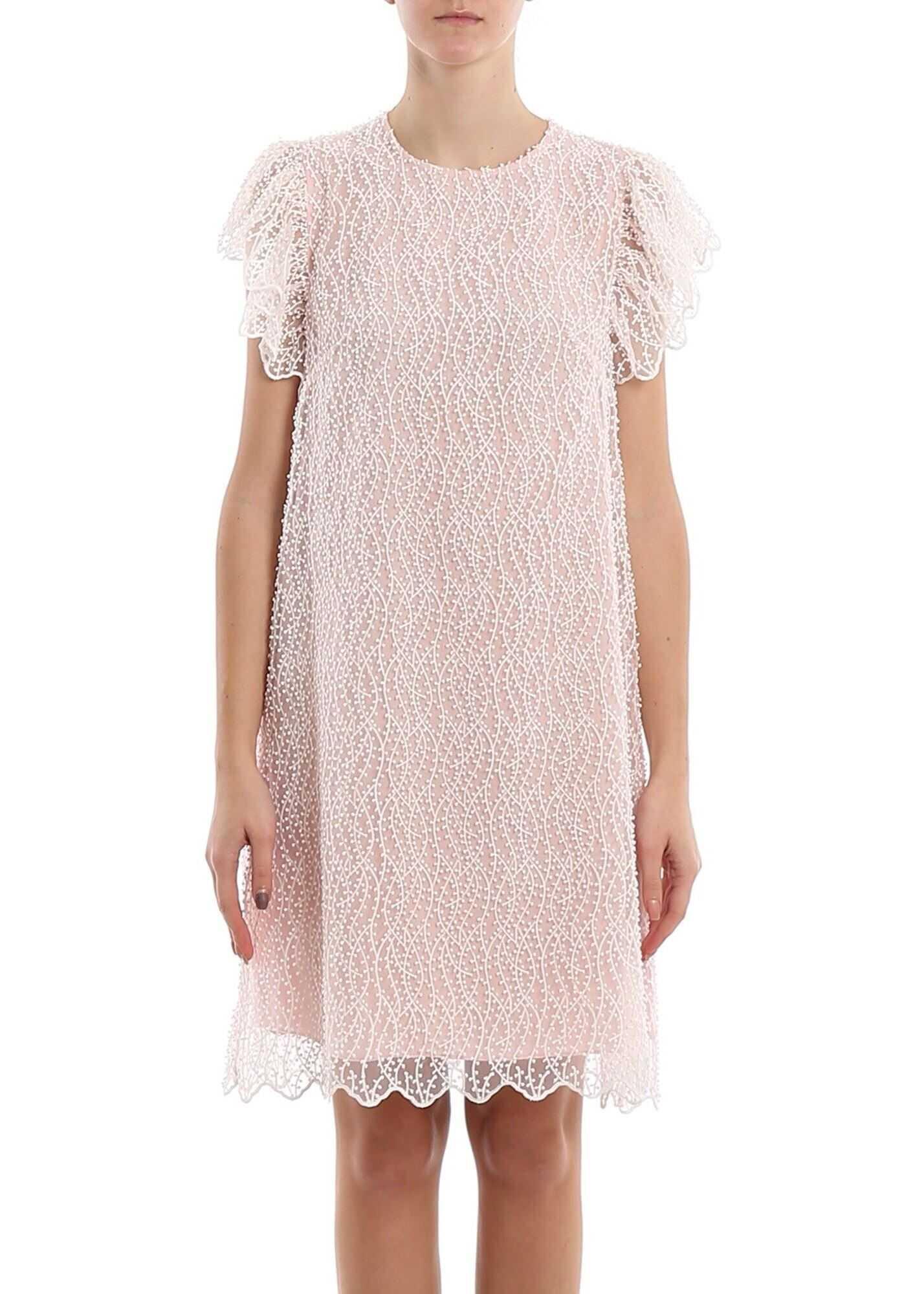 Be Blumarine Embroidered Organdie Dress Pink