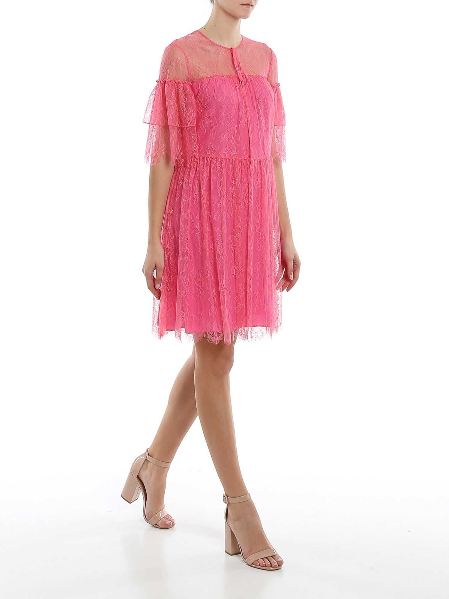 Be Blumarine Lace Short Dress In Pink Pink