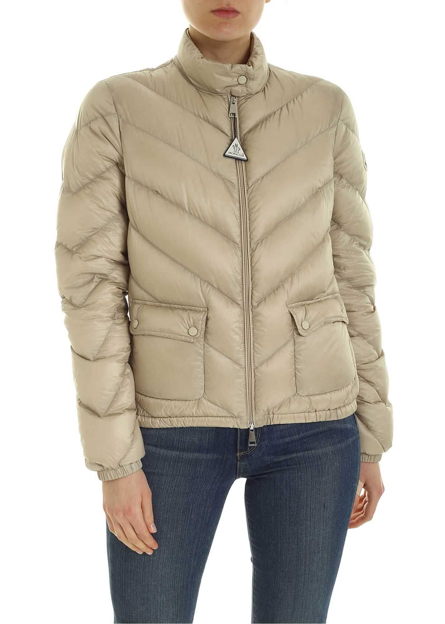 Moncler Lanx Quilted Down Jacket In Beige Beige