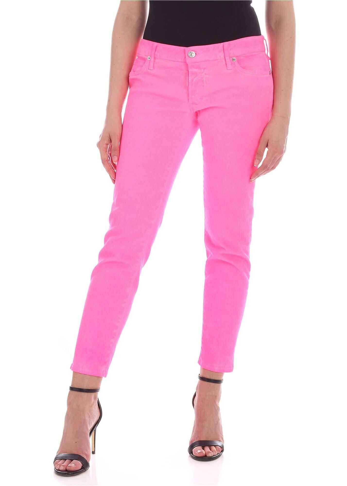 DSQUARED2 5-Pocket Jeans In Neon Fuchsia Fuchsia