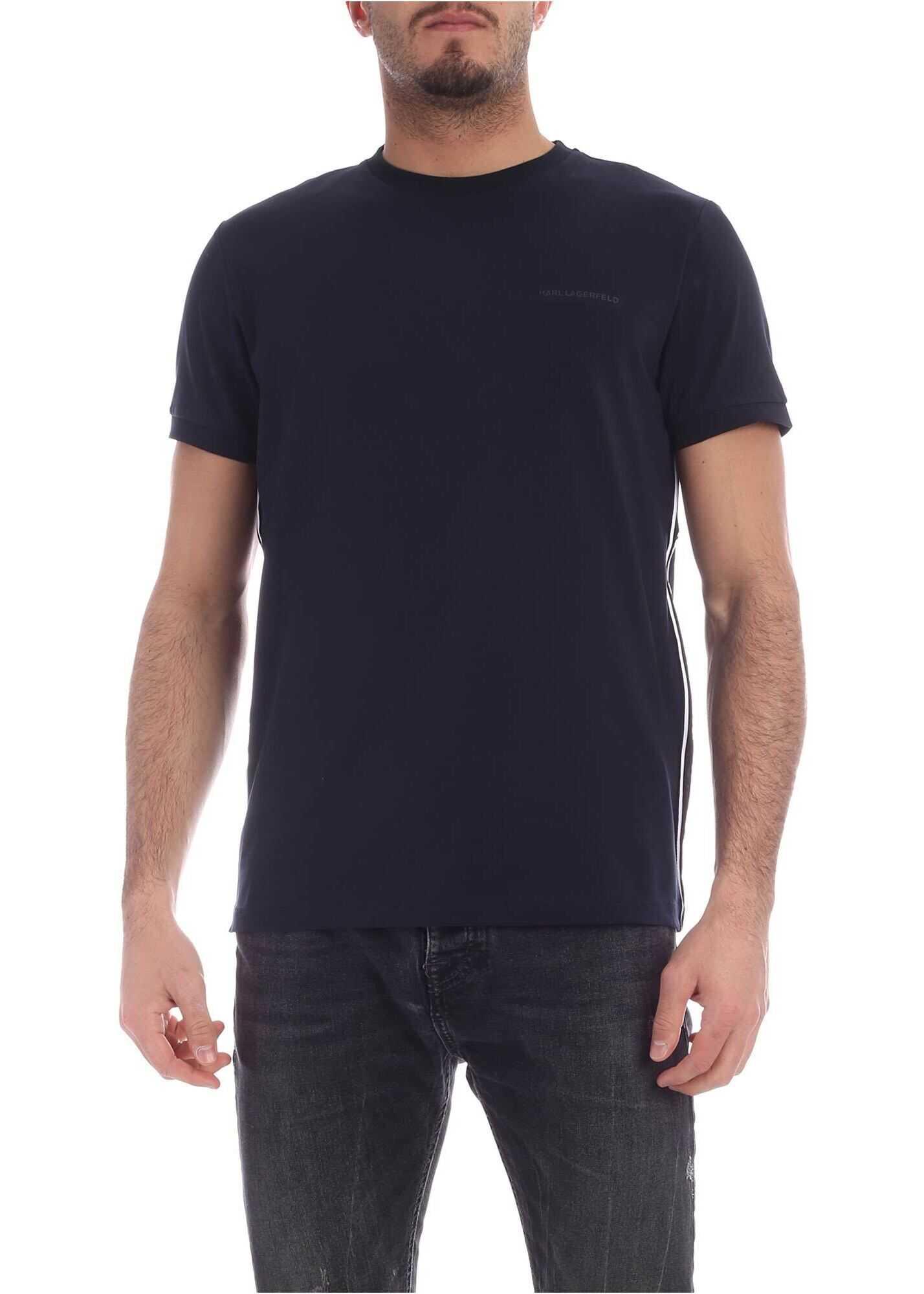 Karl Lagerfeld Branded Details T-Shirt In Blue Blue