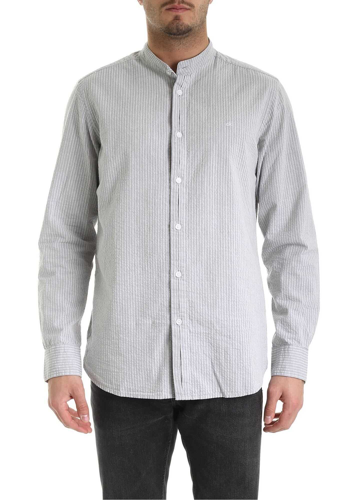 Seersucker Shirt In Grey thumbnail