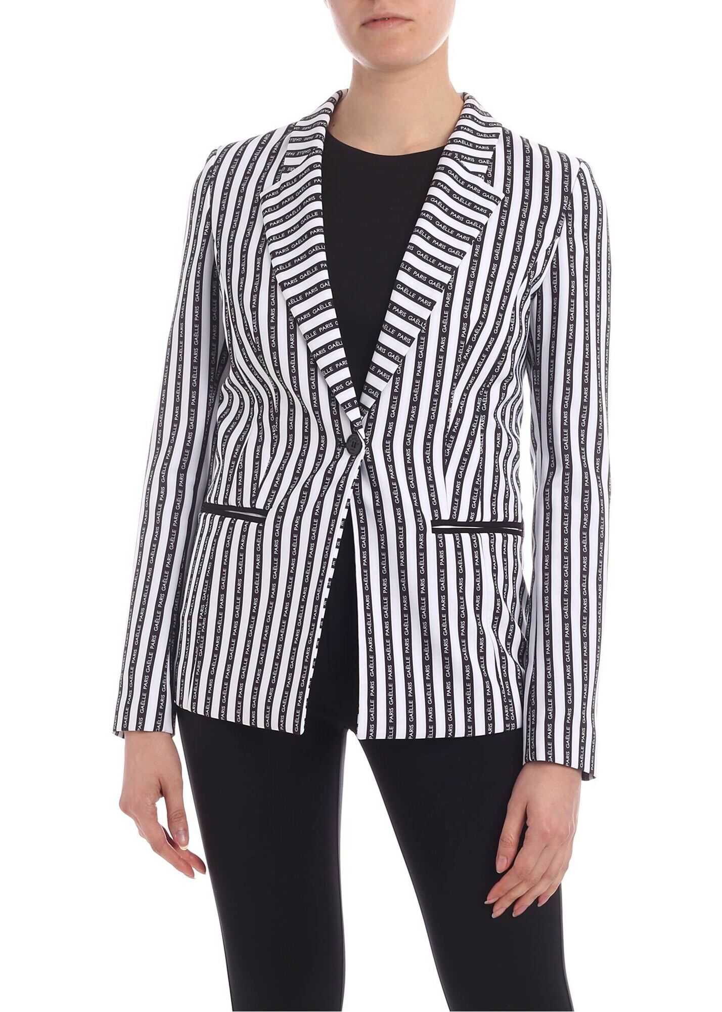 GAëLLE Paris Branded Stripes Single-Breasted Jacket White