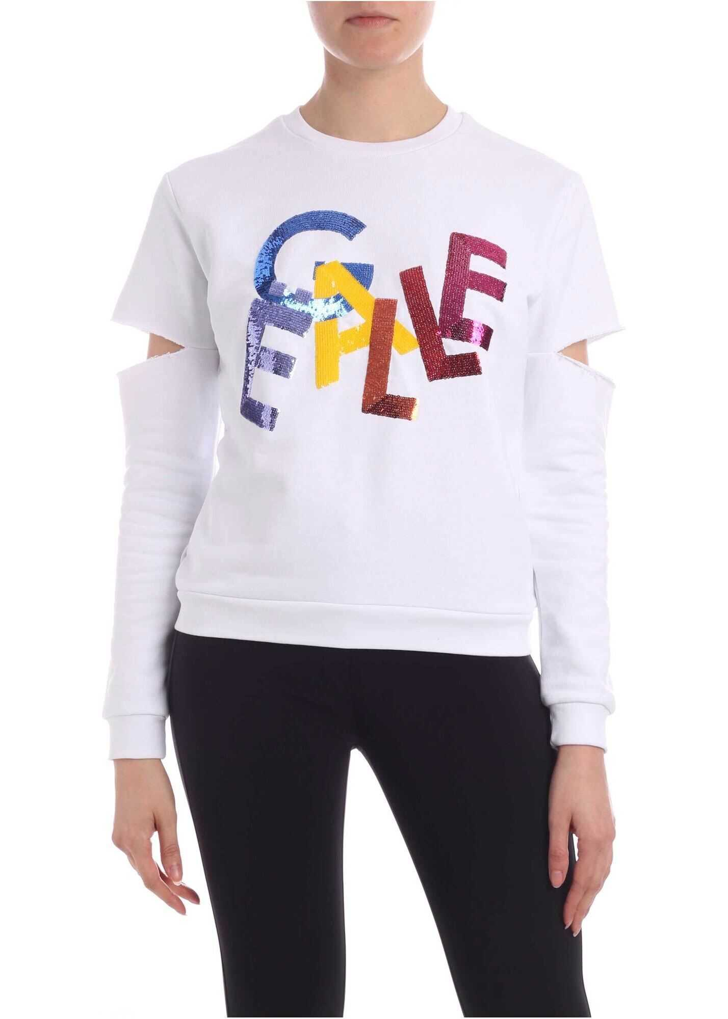GAëLLE Paris Sequins Multicolor Logo Sweatshirt In White White