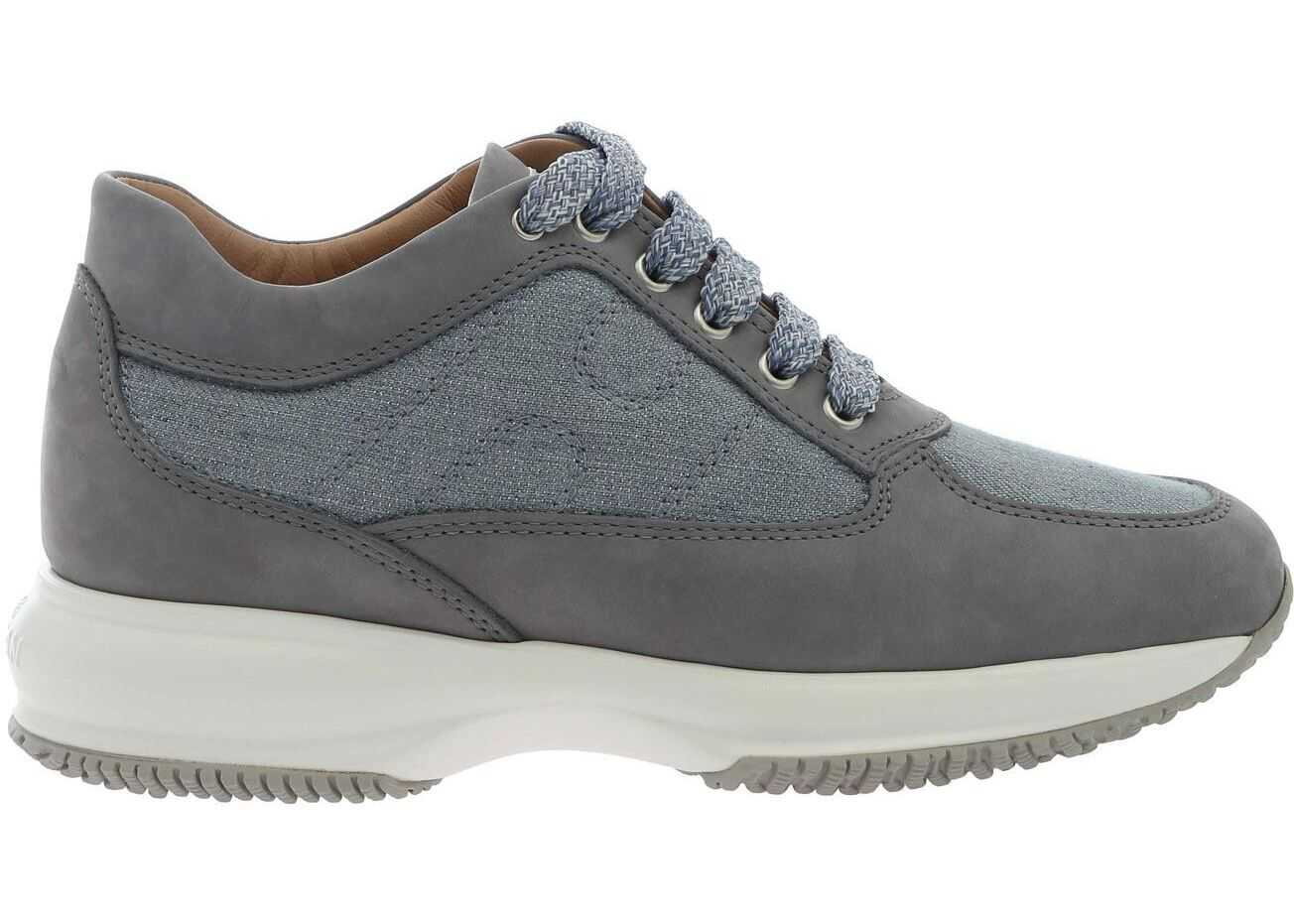 Hogan Interactive Sneakers In Grey With Lamé Inserts Grey