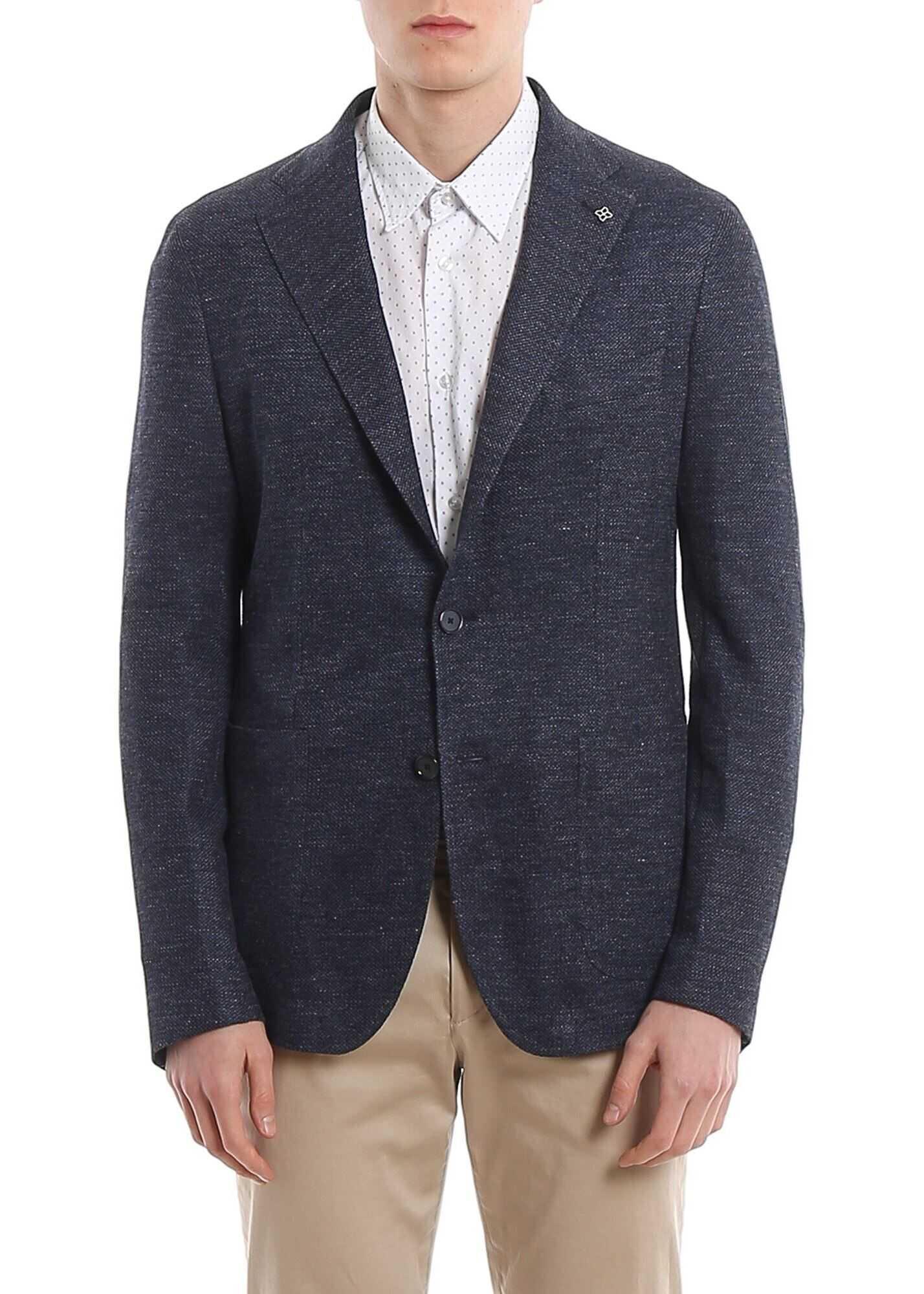 Tagliatore Linen And Cotton Unlined Blazer Blue imagine