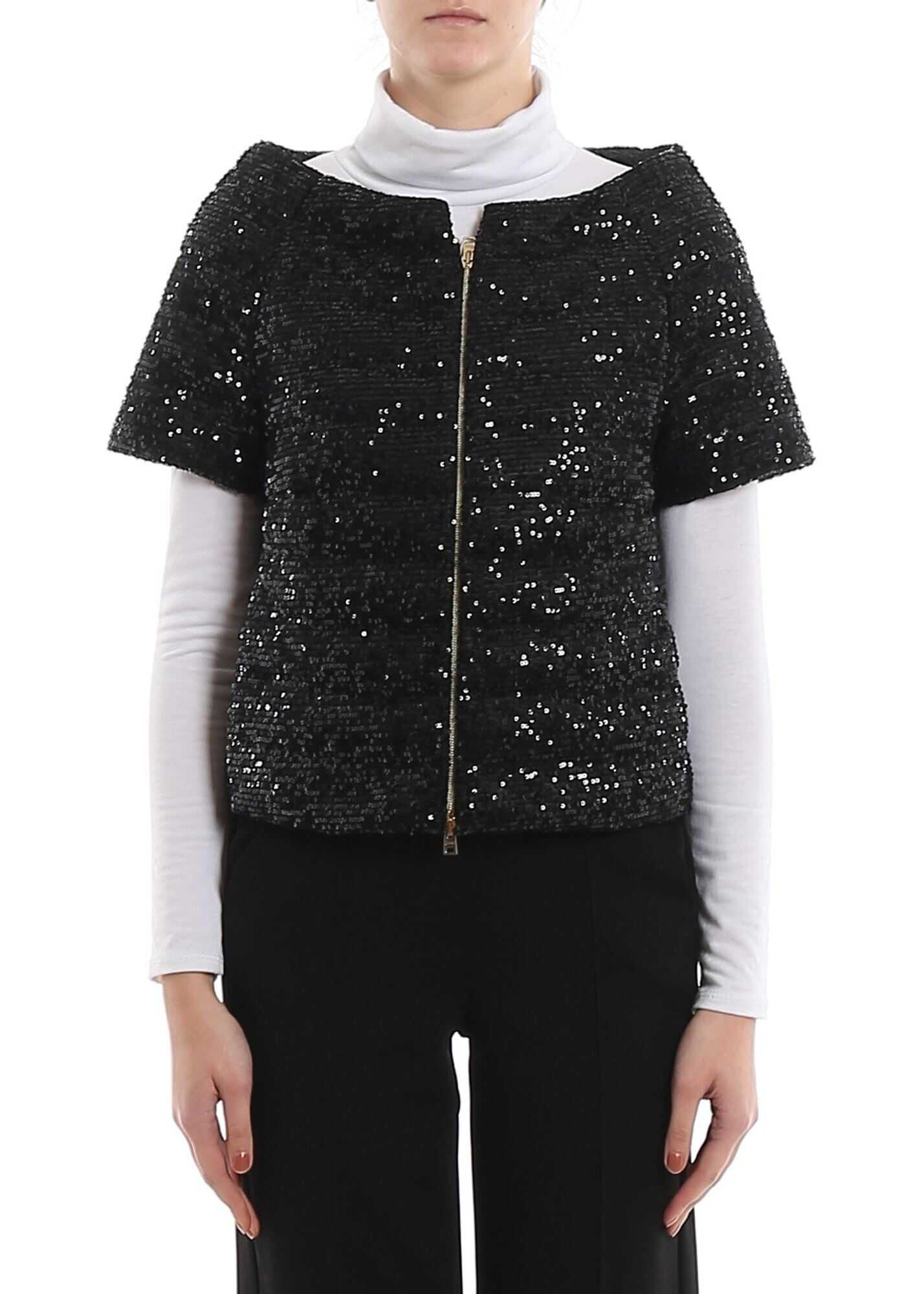 Herno Sequined Short Down Jacket In Black Black
