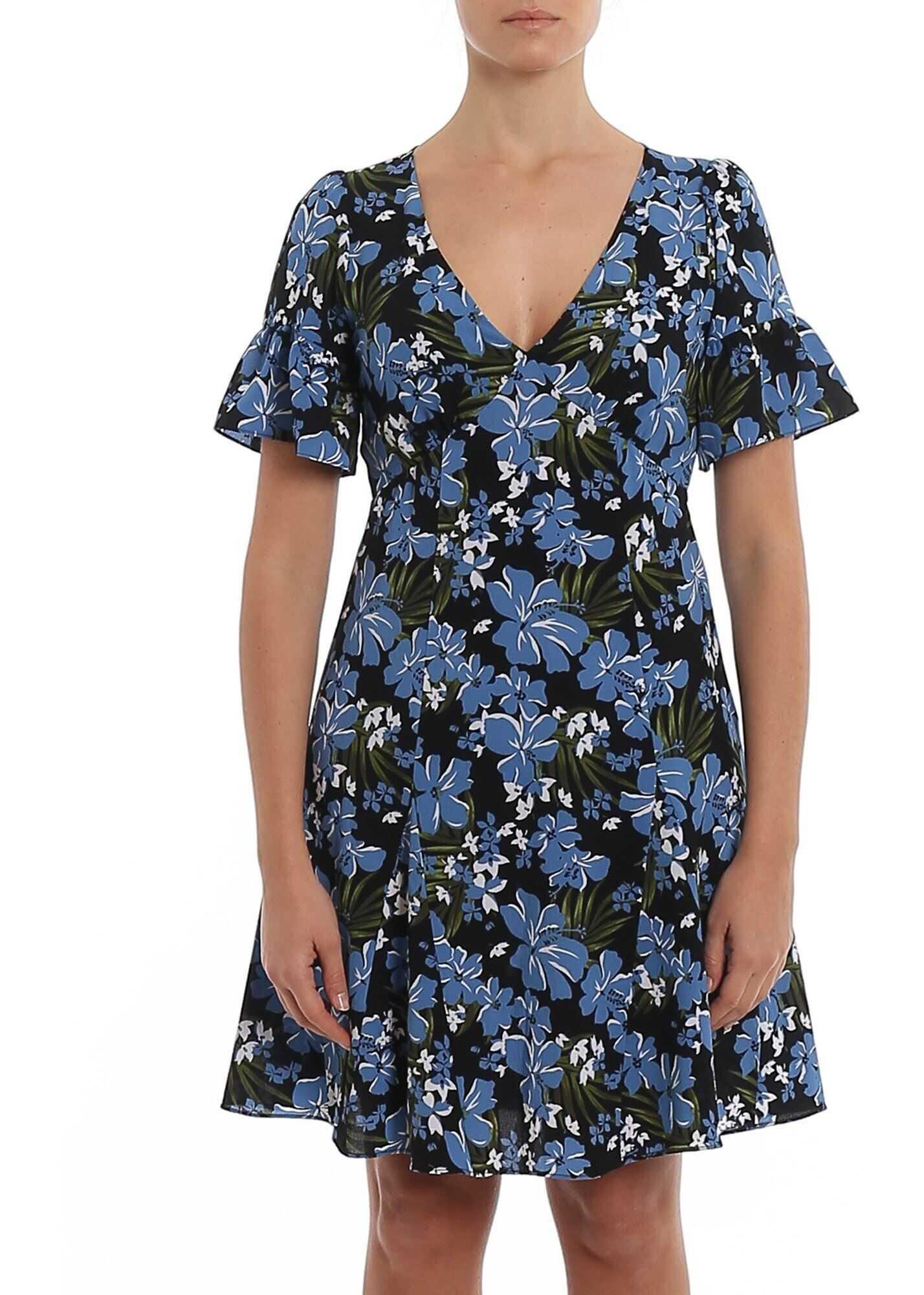 Michael Kors Floral Cady Flared Dress Multi
