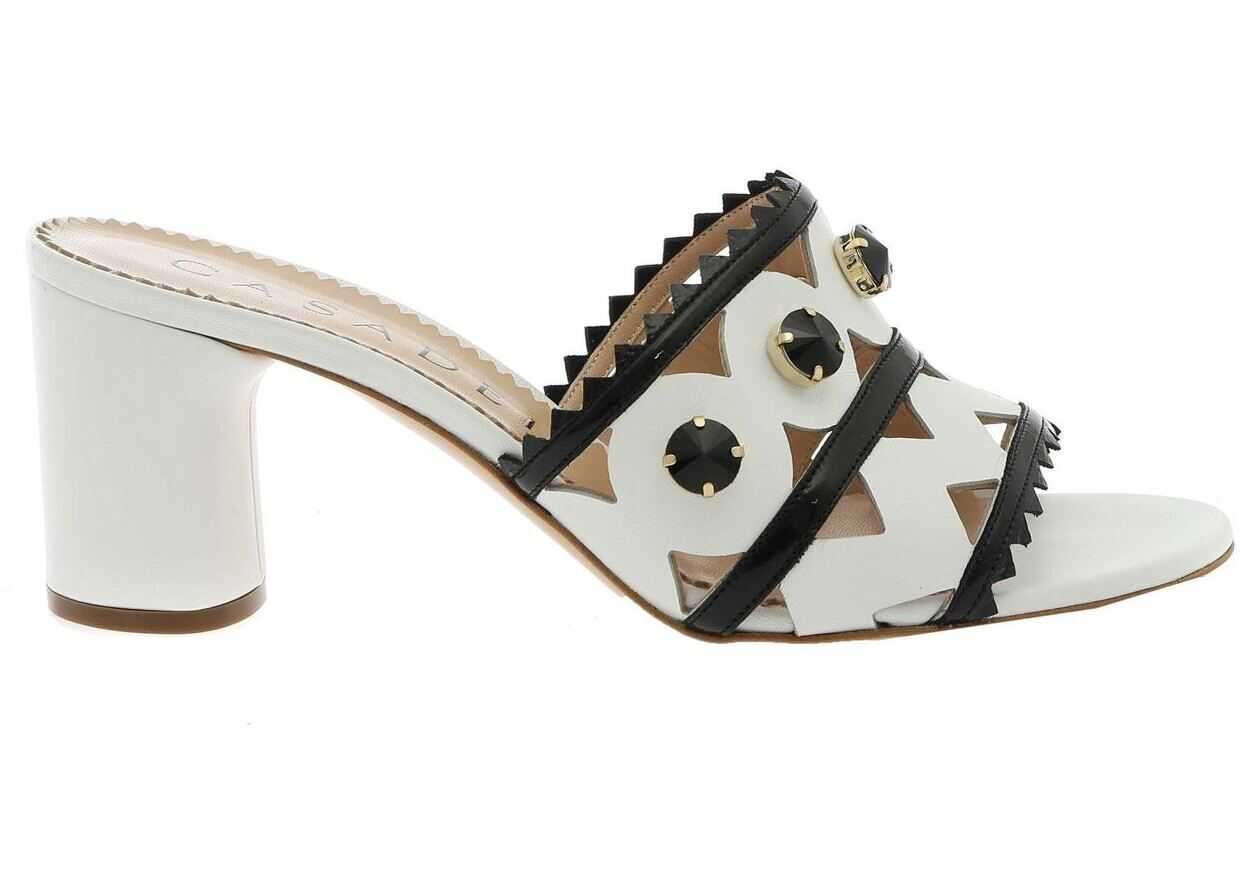 Casadei Rainplack Sandals In White And Black White