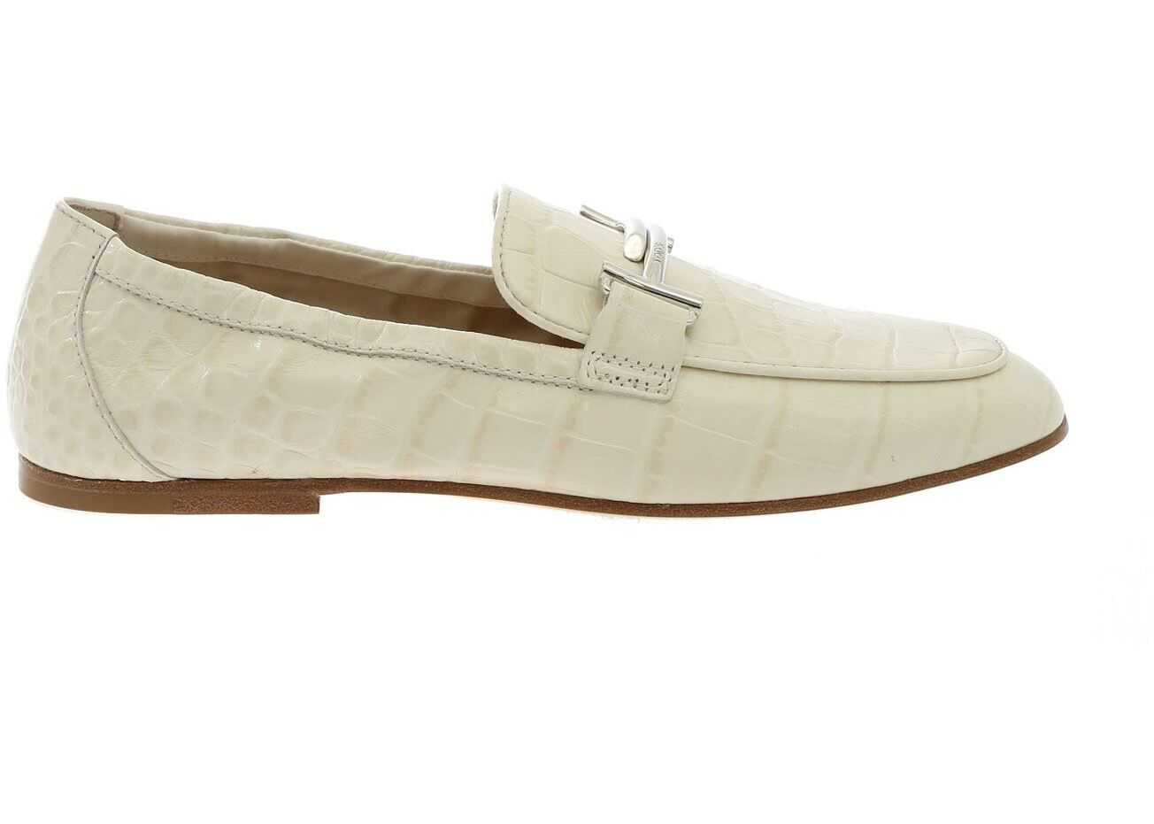 TOD'S Croco-Printed Loafers In White White