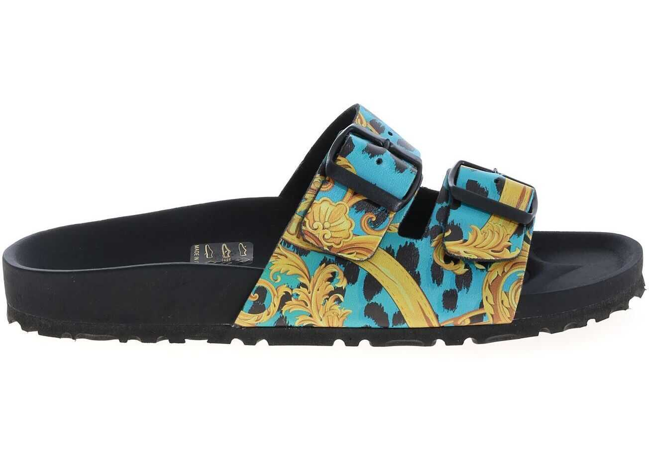 Versace Jeans Couture Leo Chain Slippers In Black And Light Blue Black