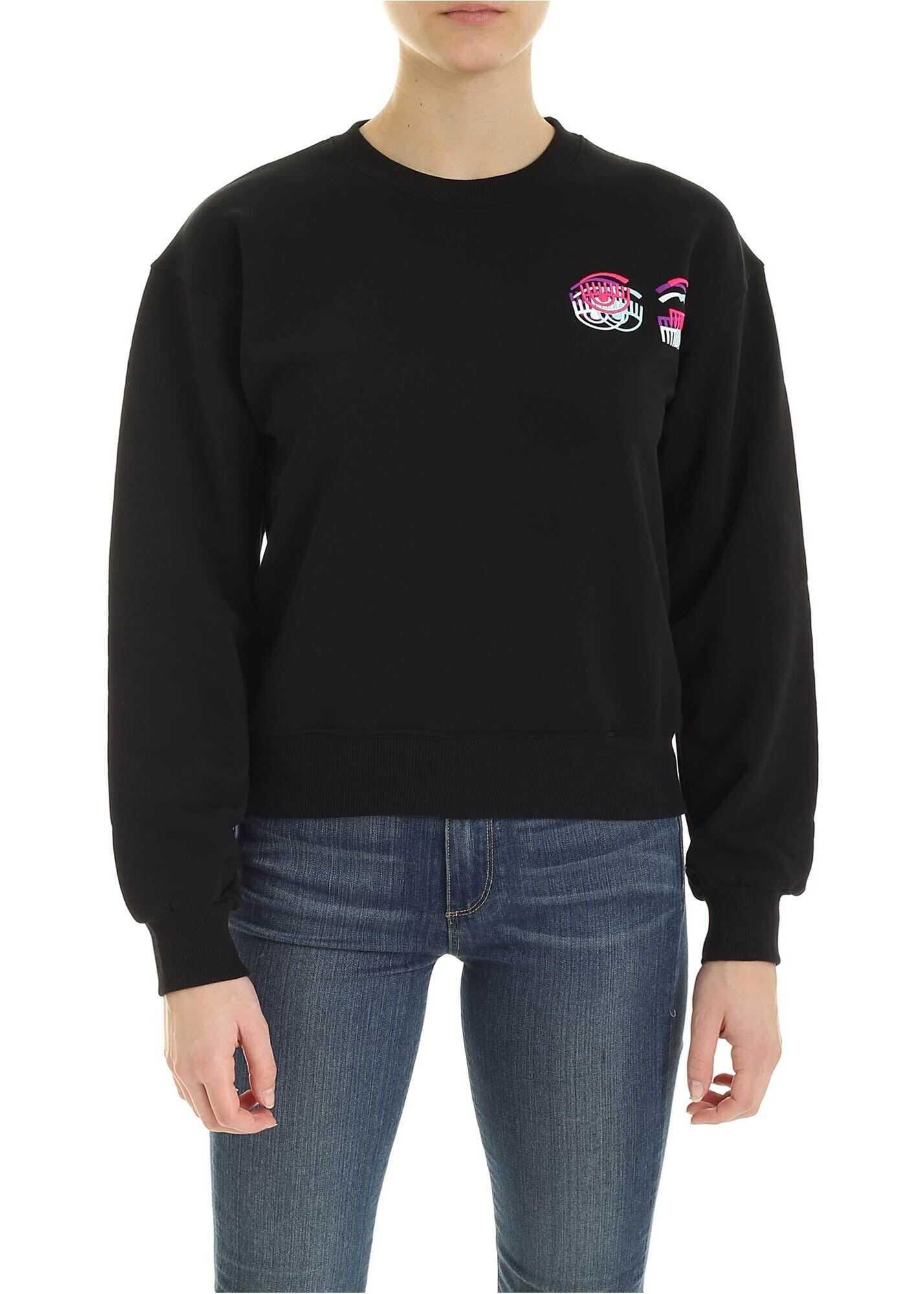 Chiara Ferragni Glitch Sweatshirt In Black Black