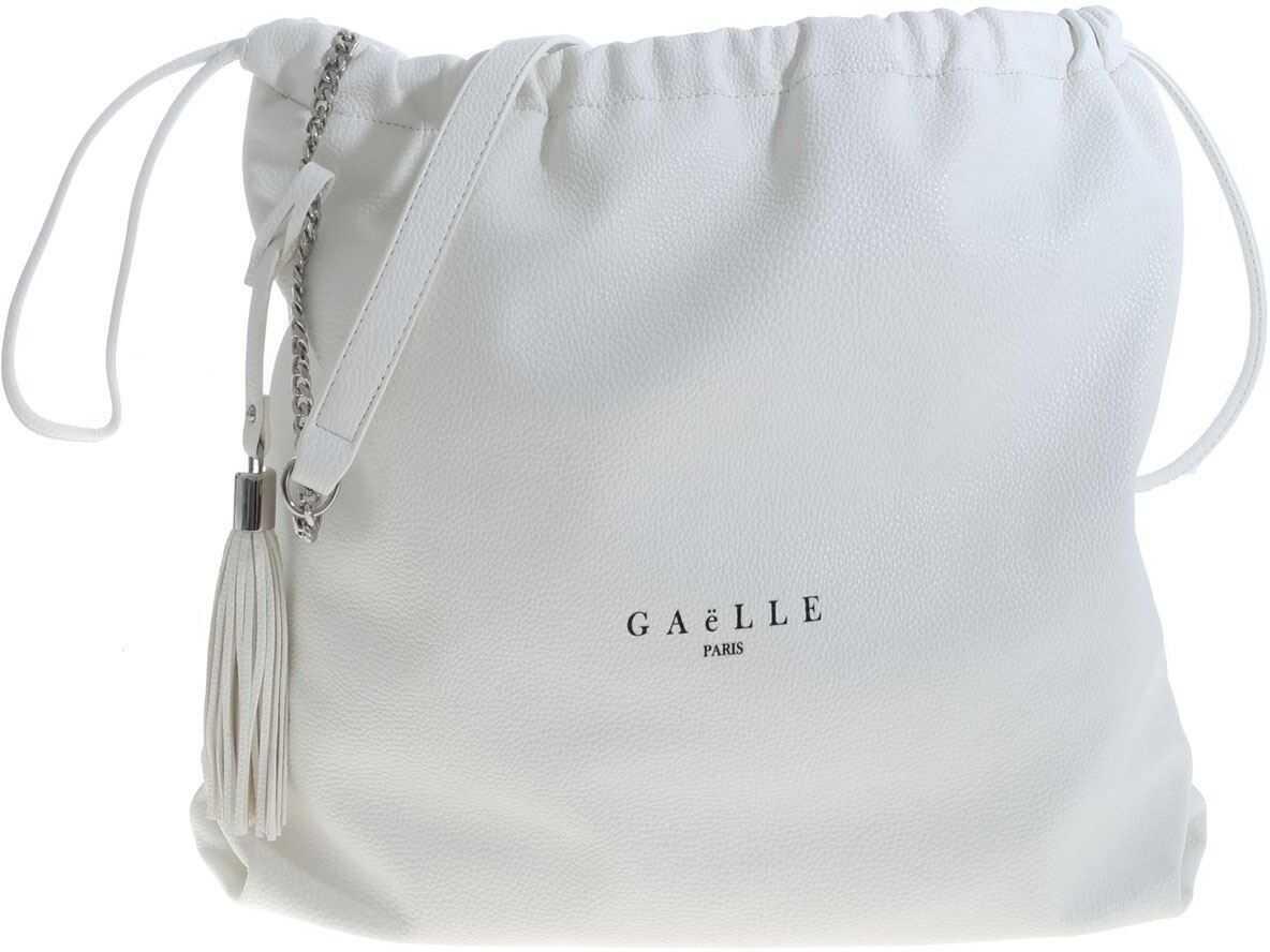 GAëLLE Paris Bag In White With Black Logo Print White