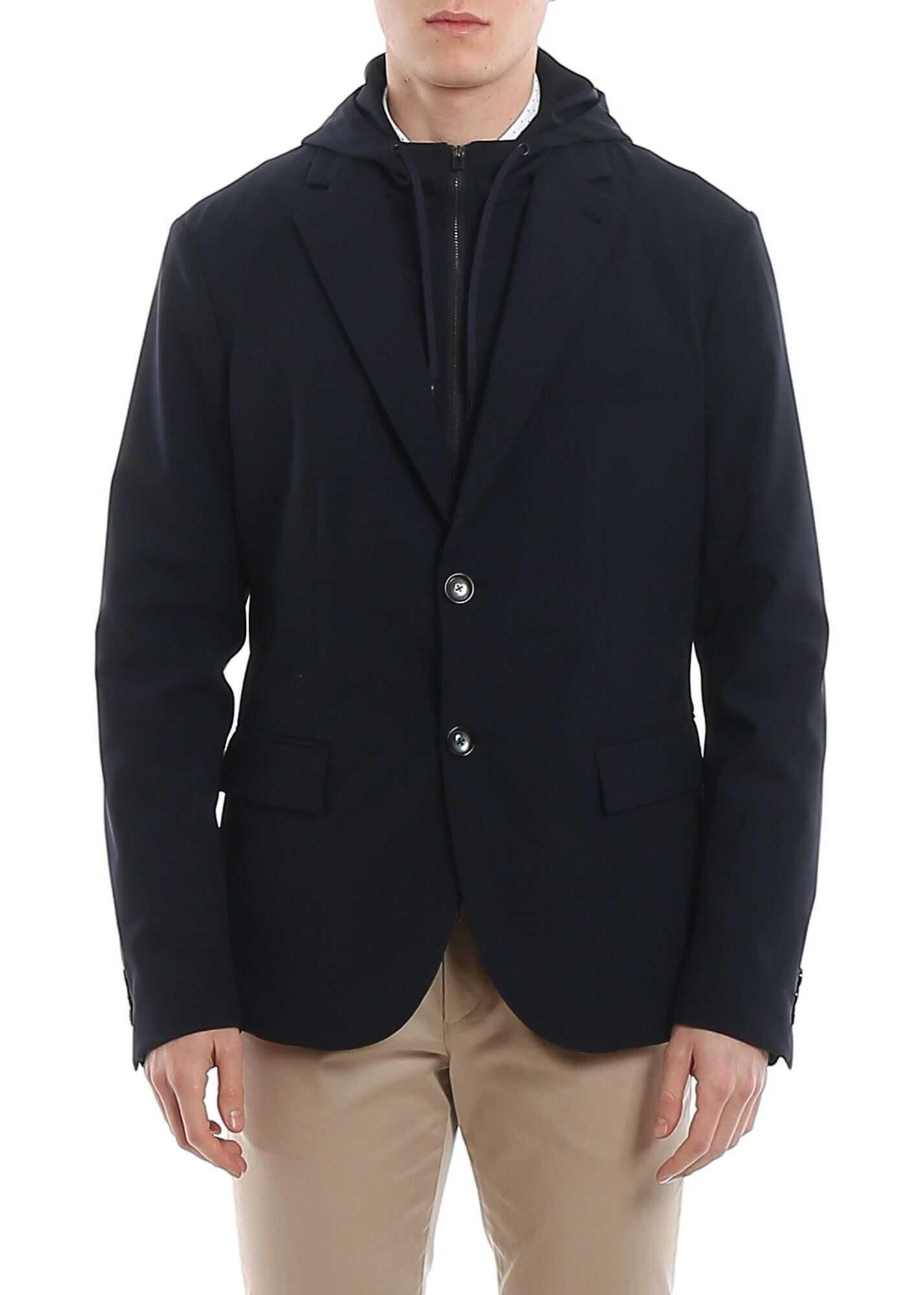 Emporio Armani Wool Blazer With Removable Double Front Blue imagine