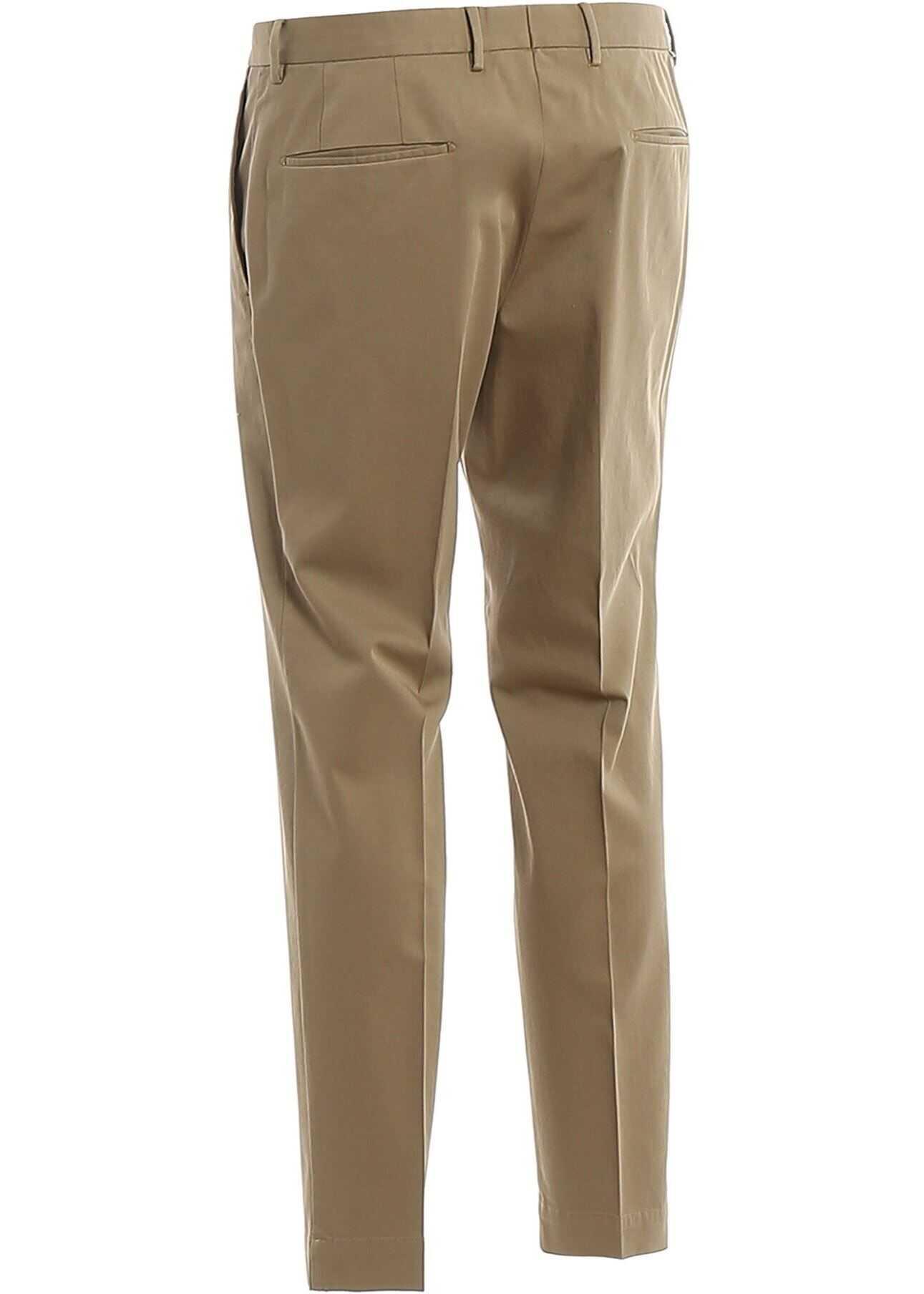 Incotex Cotton Tailored Pants Beige imagine