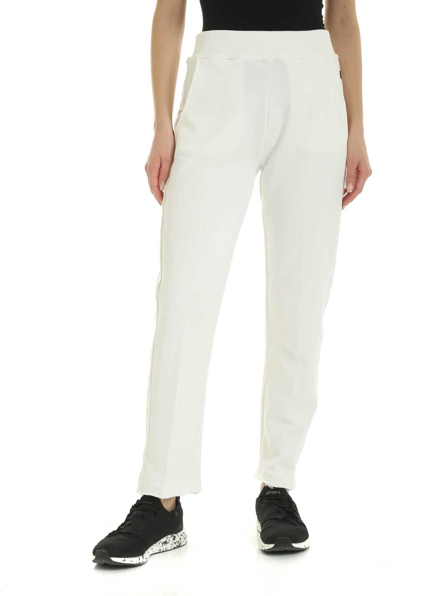 Woolrich Pants In White With Tone-On-Tone Logo White