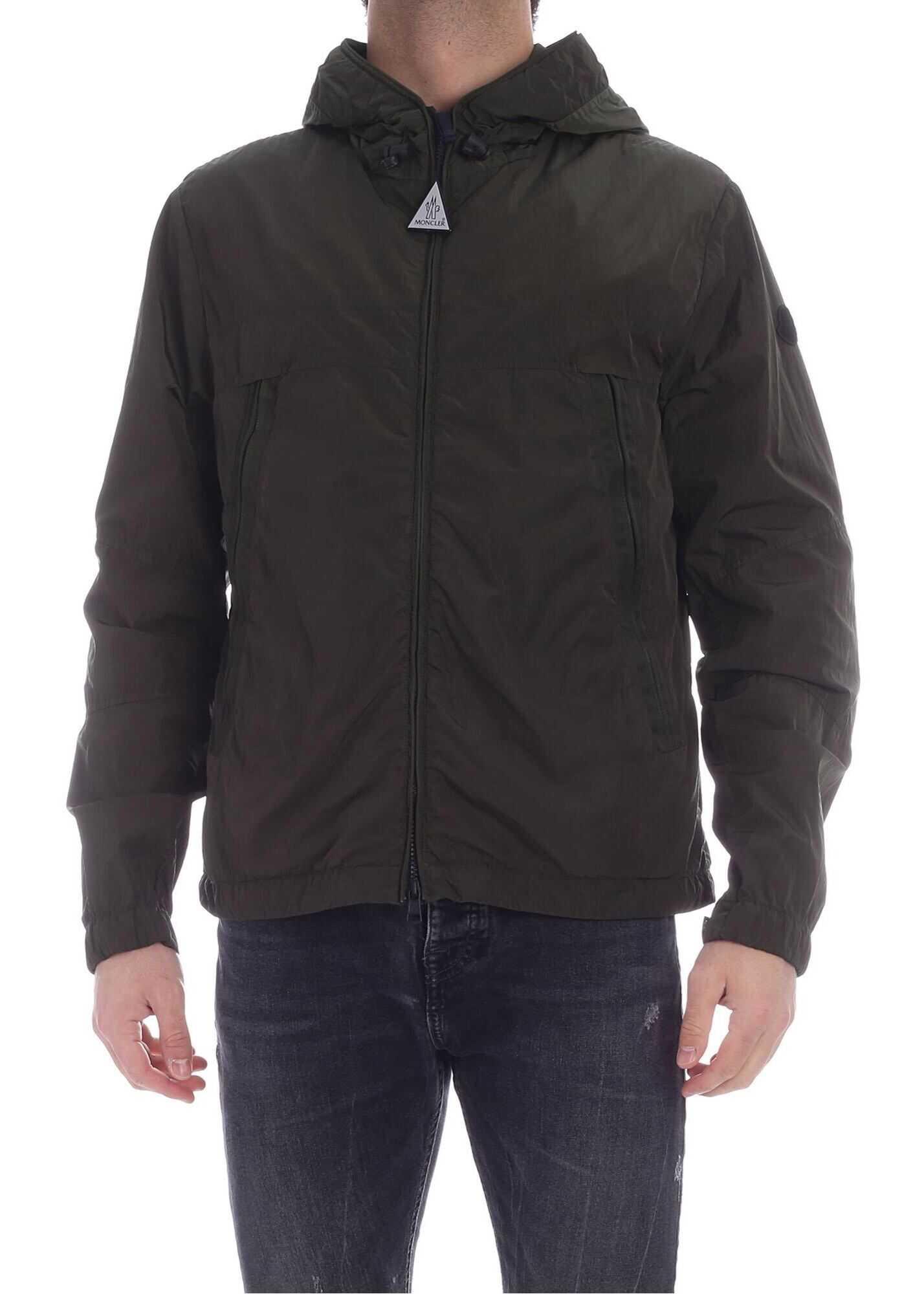 Moncler Scie Hooded Jacket In Dark Green Green imagine