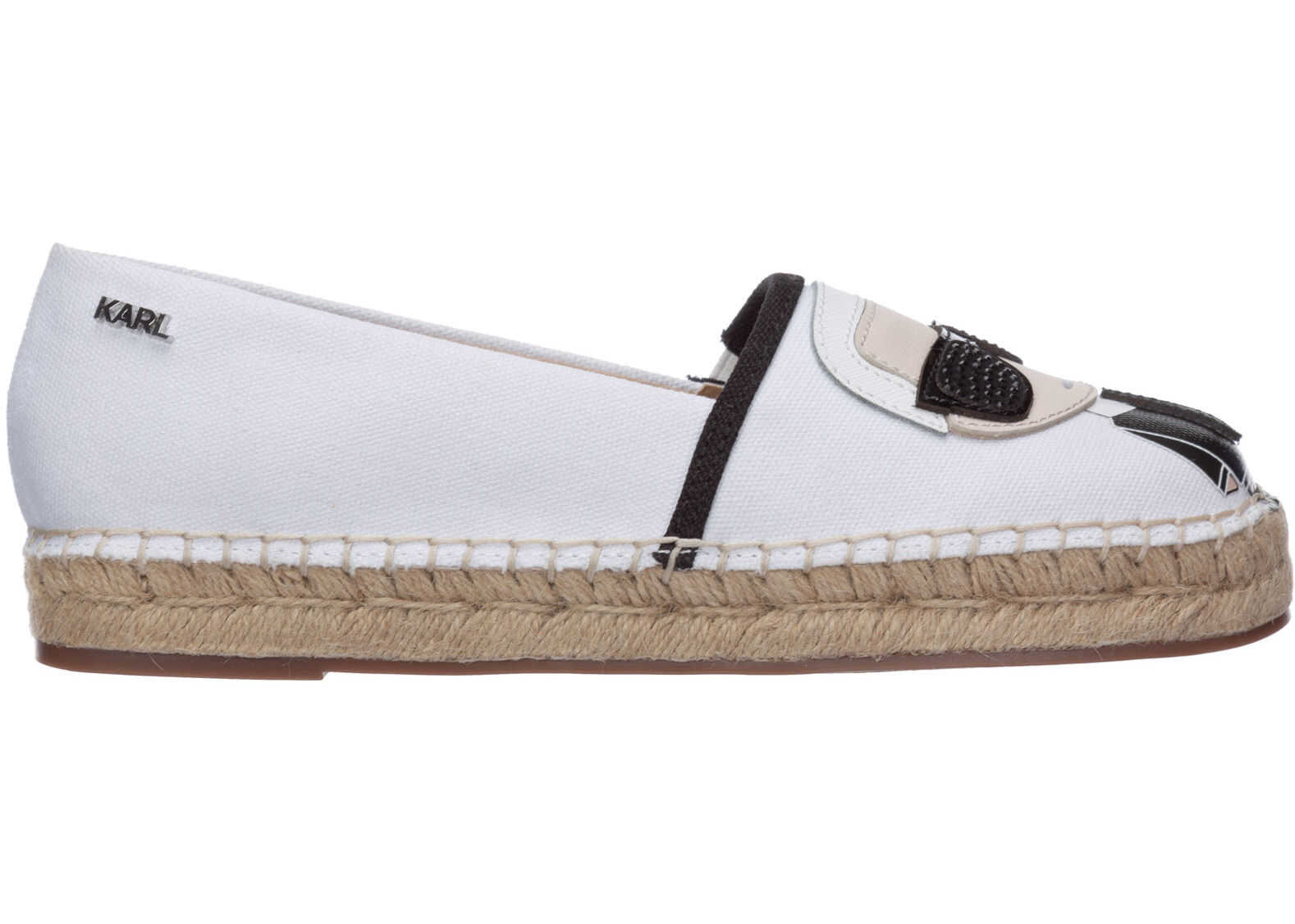 Karl Lagerfeld Cotton Espadrilles Slip On Shoes K/Ikonik White