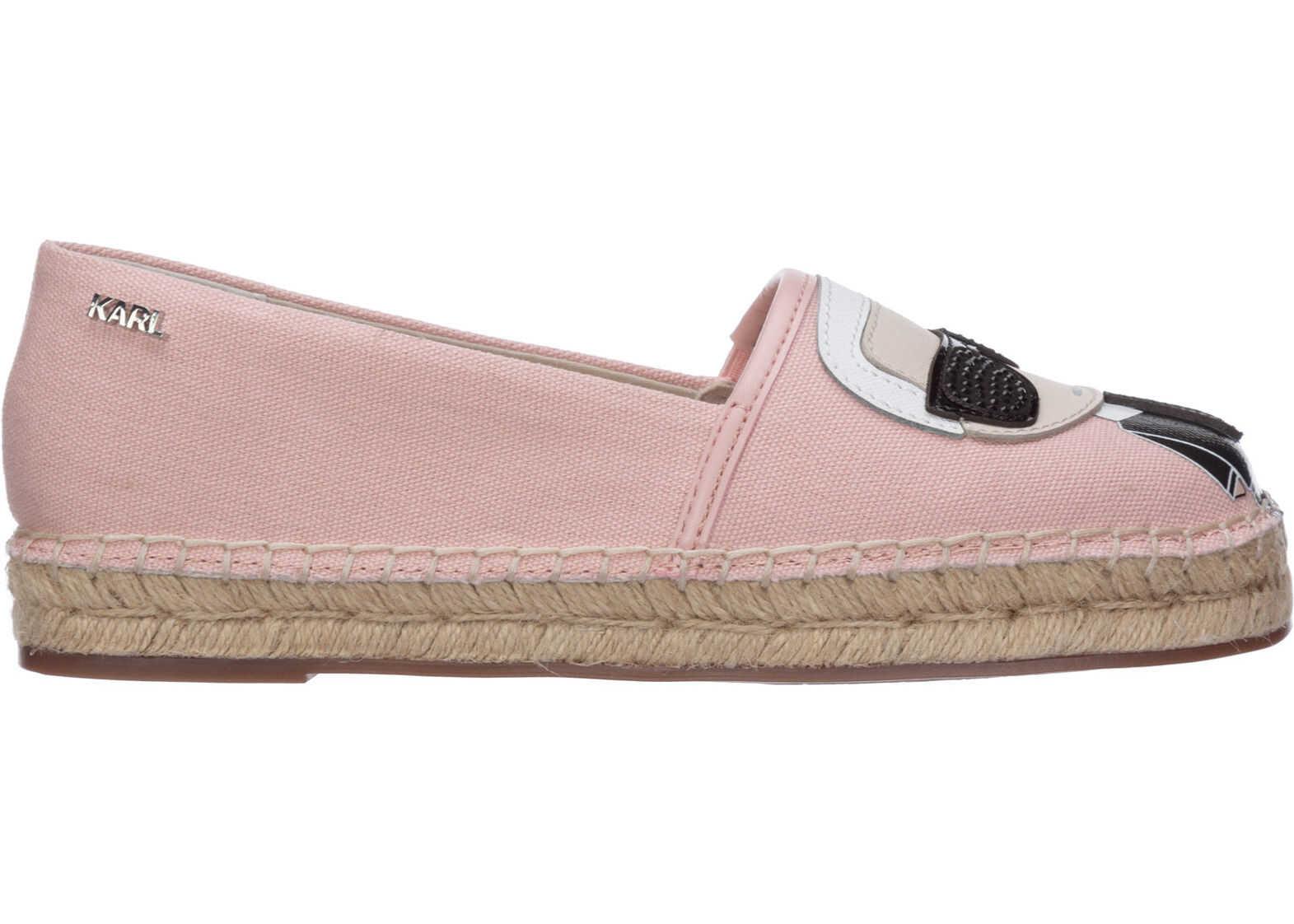 Karl Lagerfeld Cotton Espadrilles Slip On Shoes K/Ikonik Pink