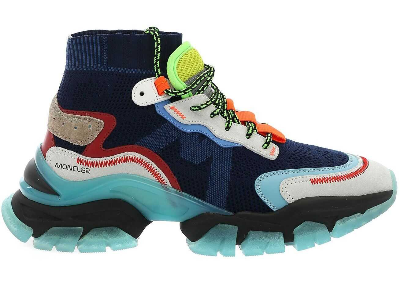 Moncler Leave No Trace High Sneakers In Blue Blue