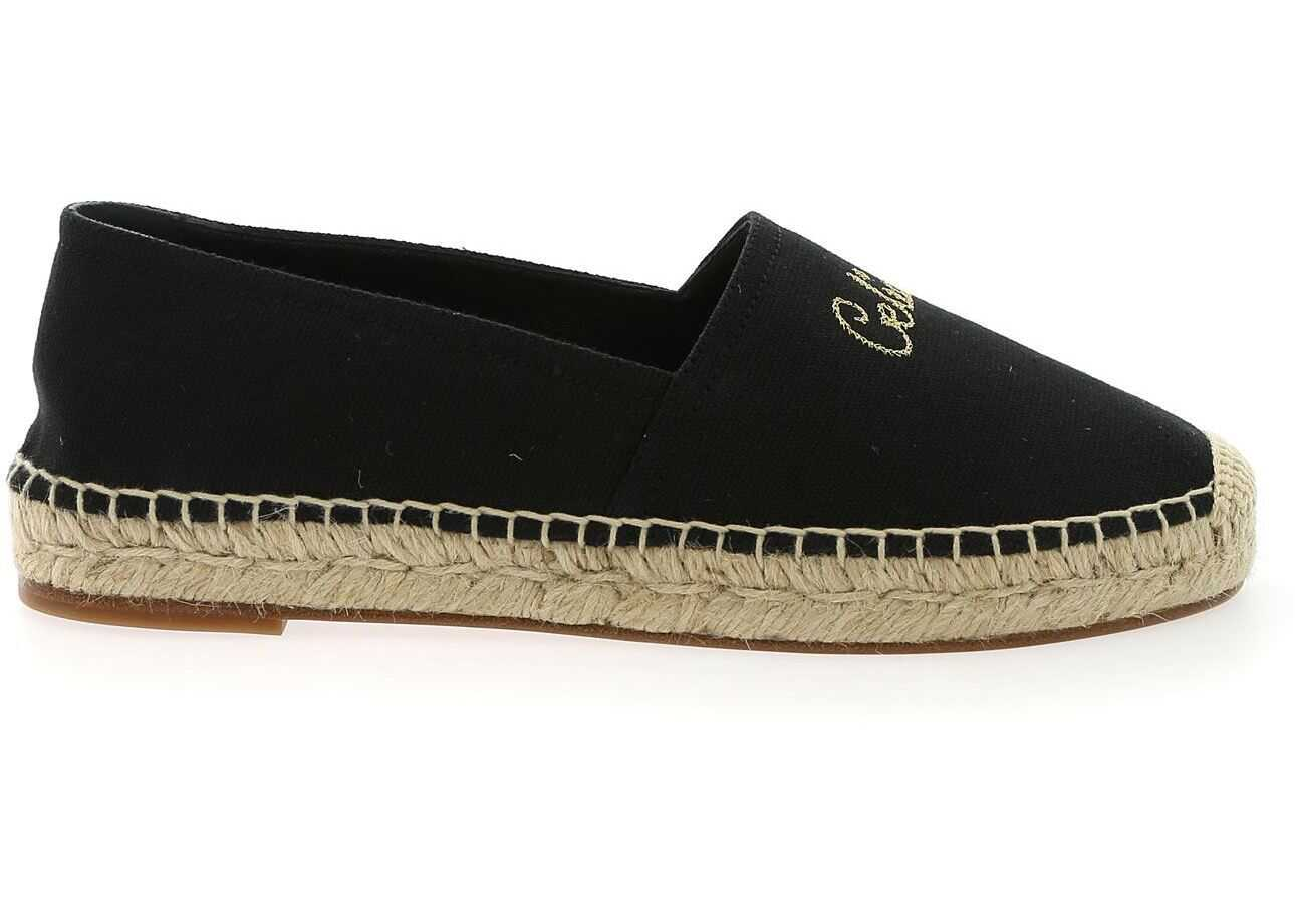 Céline Taillat Black Espadrilles With Golden Logo Black