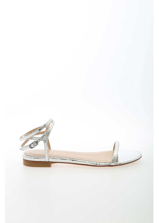 Stuart Weitzman Merinda Reptile Print Sandals In Silver Color Silver