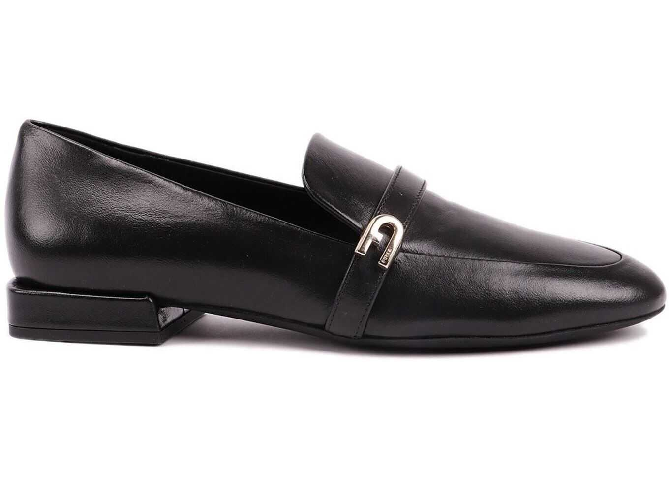 Furla 1927 Leather Loafers Black