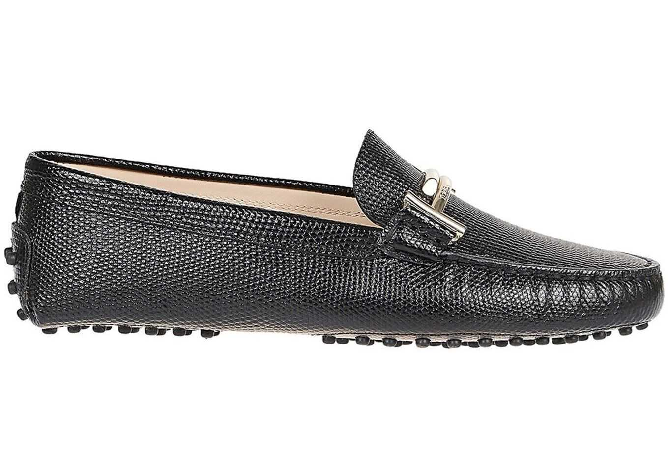 TOD'S Black Double T Gommino Leather Car Shoes Black
